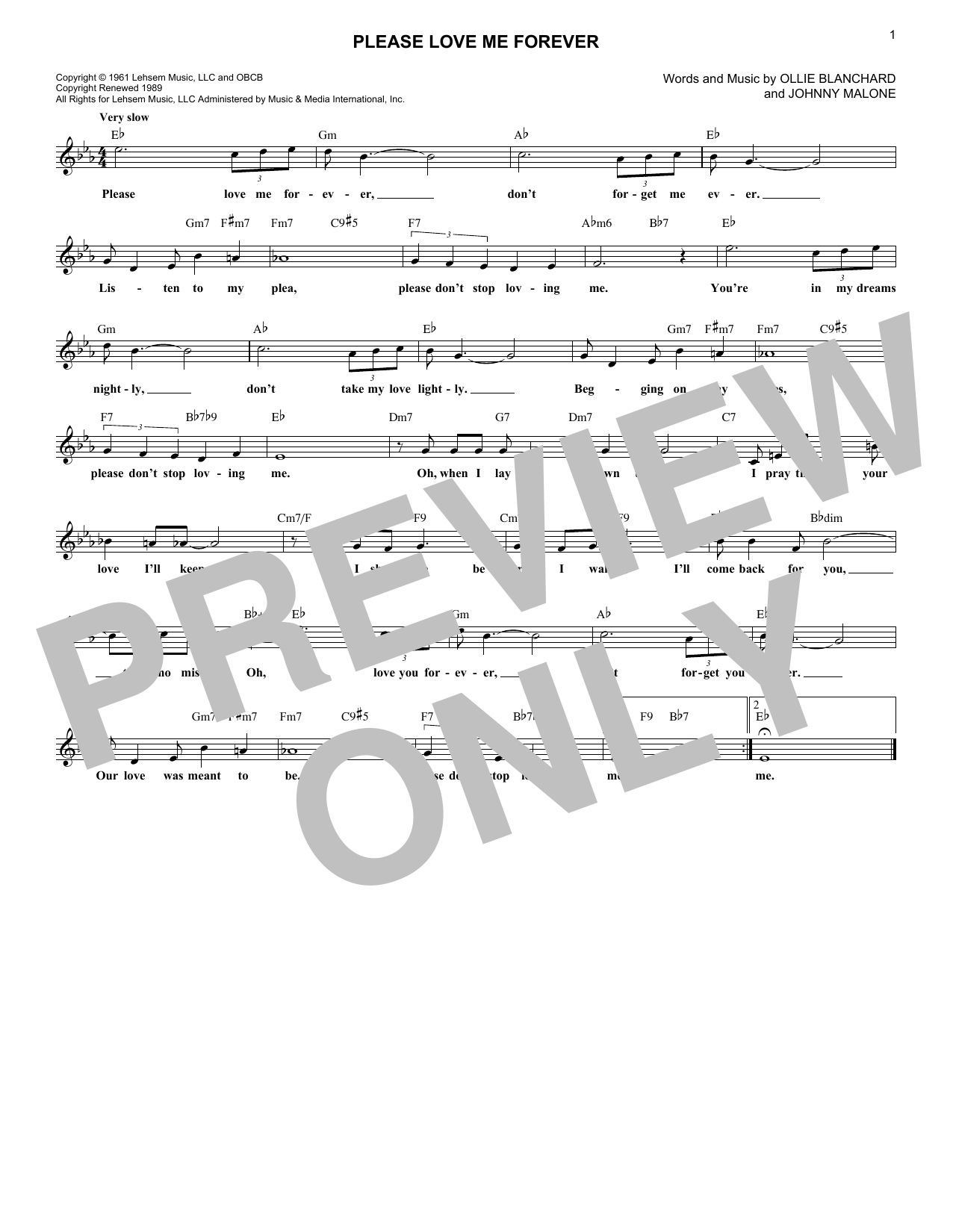 Please Love Me Forever (Lead Sheet / Fake Book)