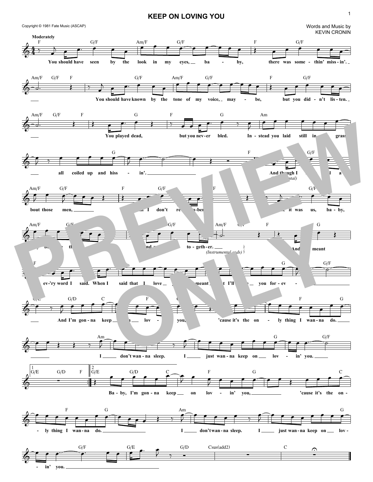 Keep On Loving You (Lead Sheet / Fake Book)