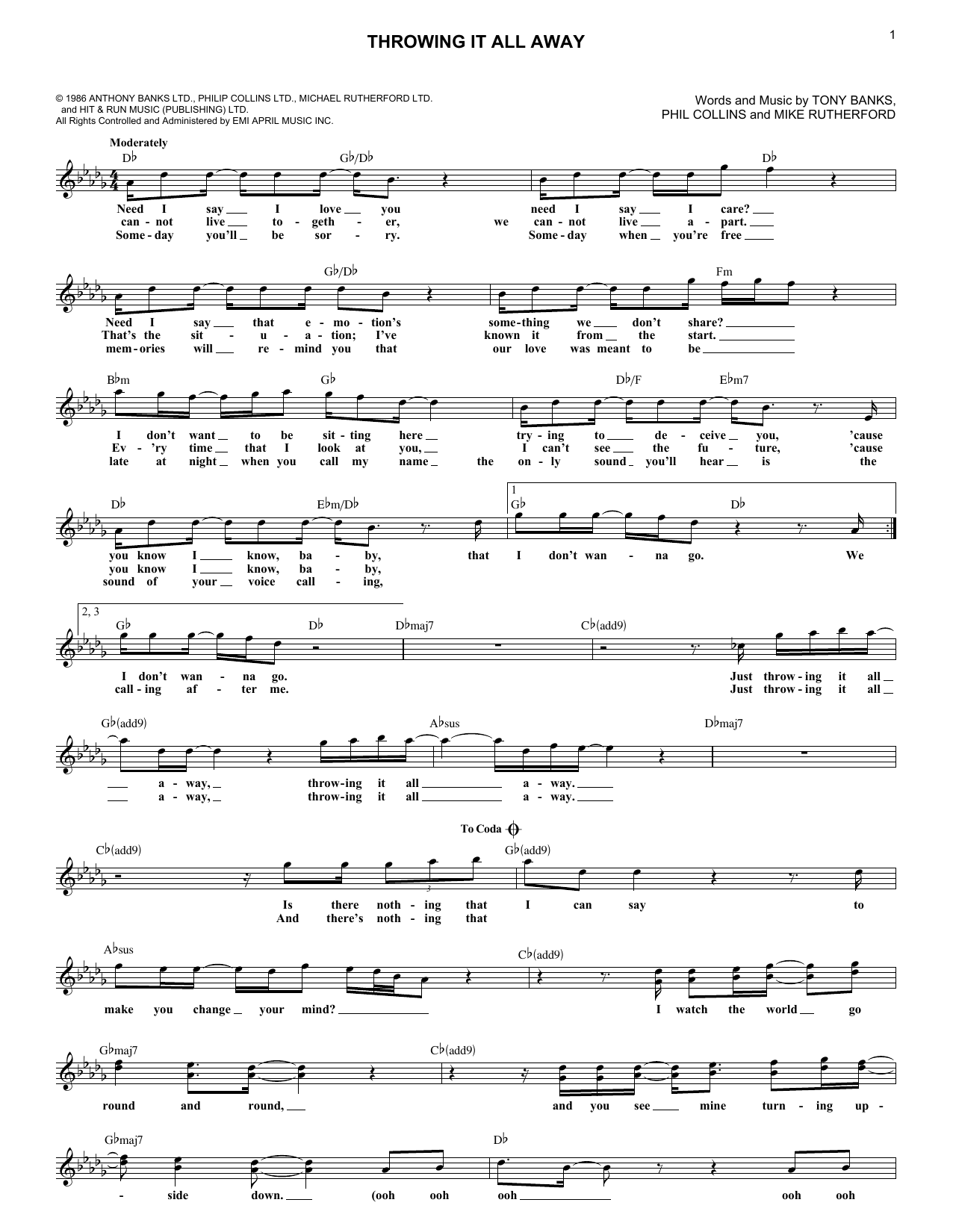 Throwing It All Away (Lead Sheet / Fake Book)