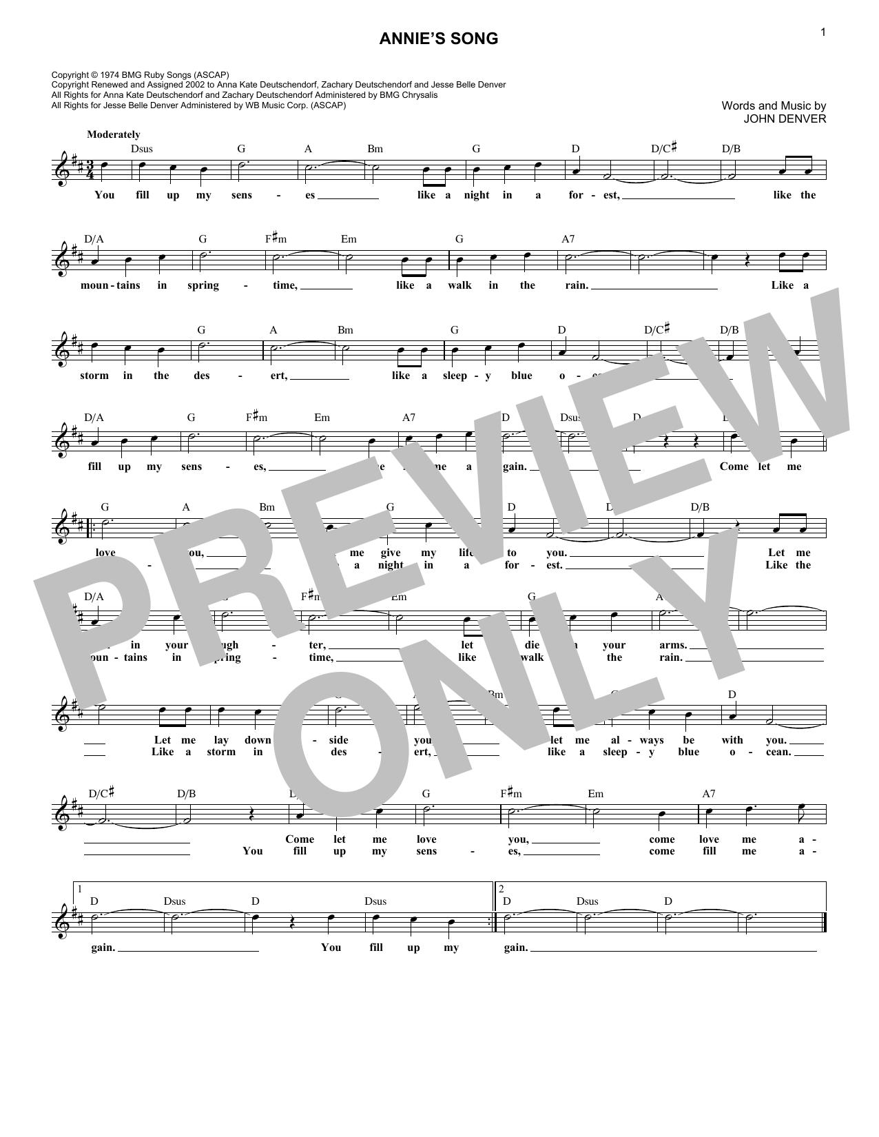 Annie's Song (Lead Sheet / Fake Book)