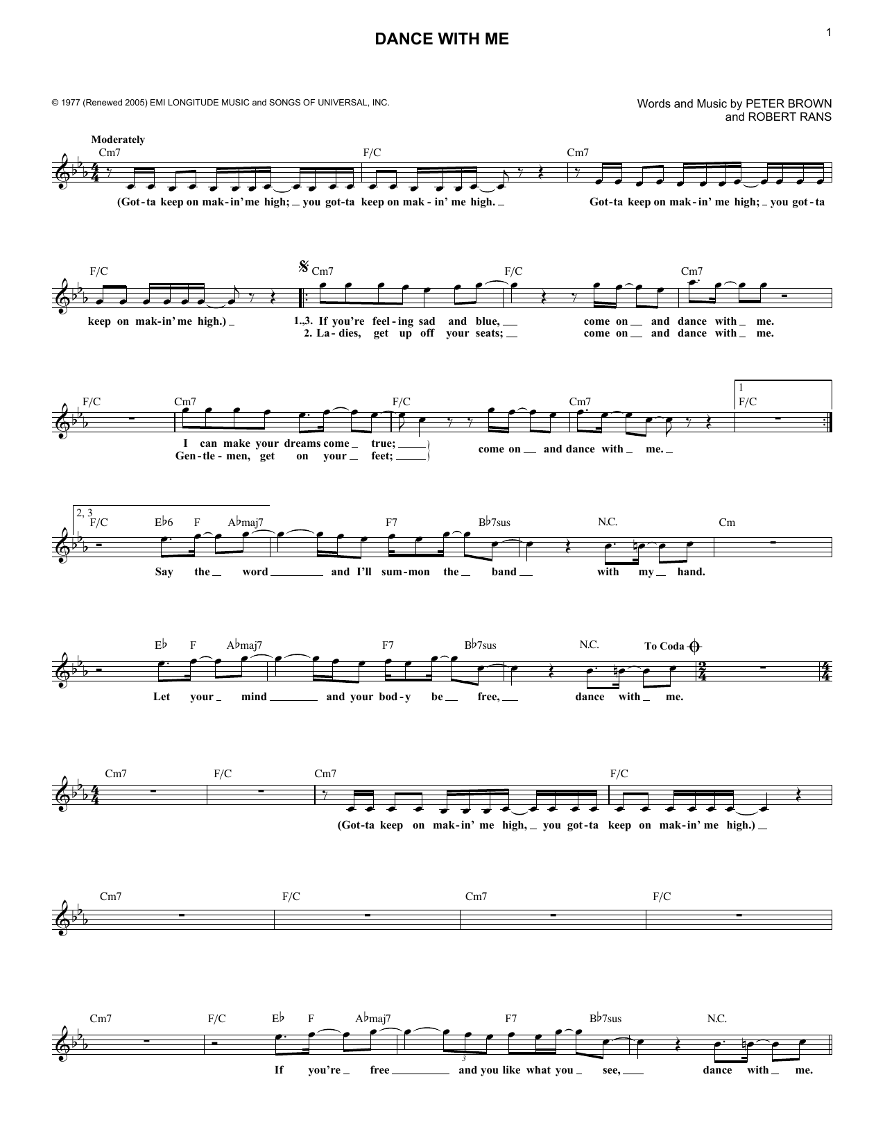 Dance With Me (Lead Sheet / Fake Book)
