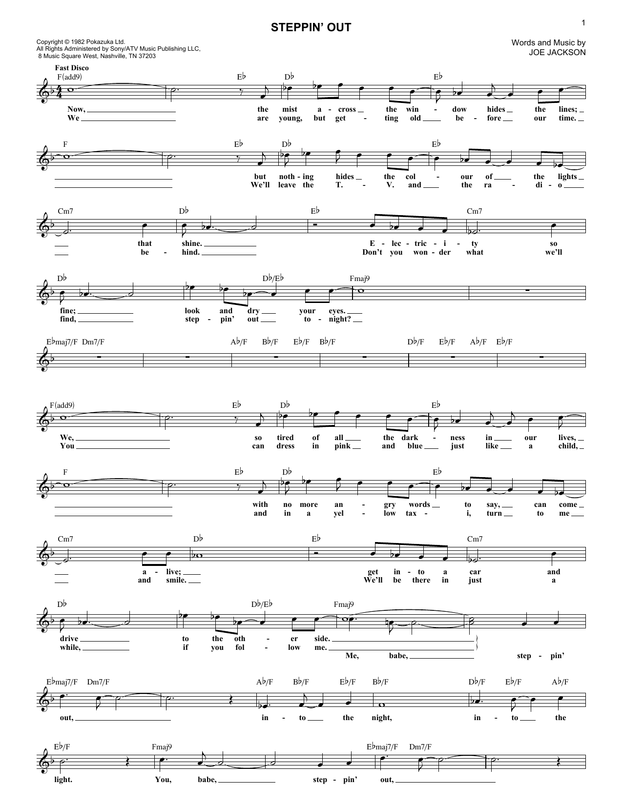 Steppin' Out (Lead Sheet / Fake Book)