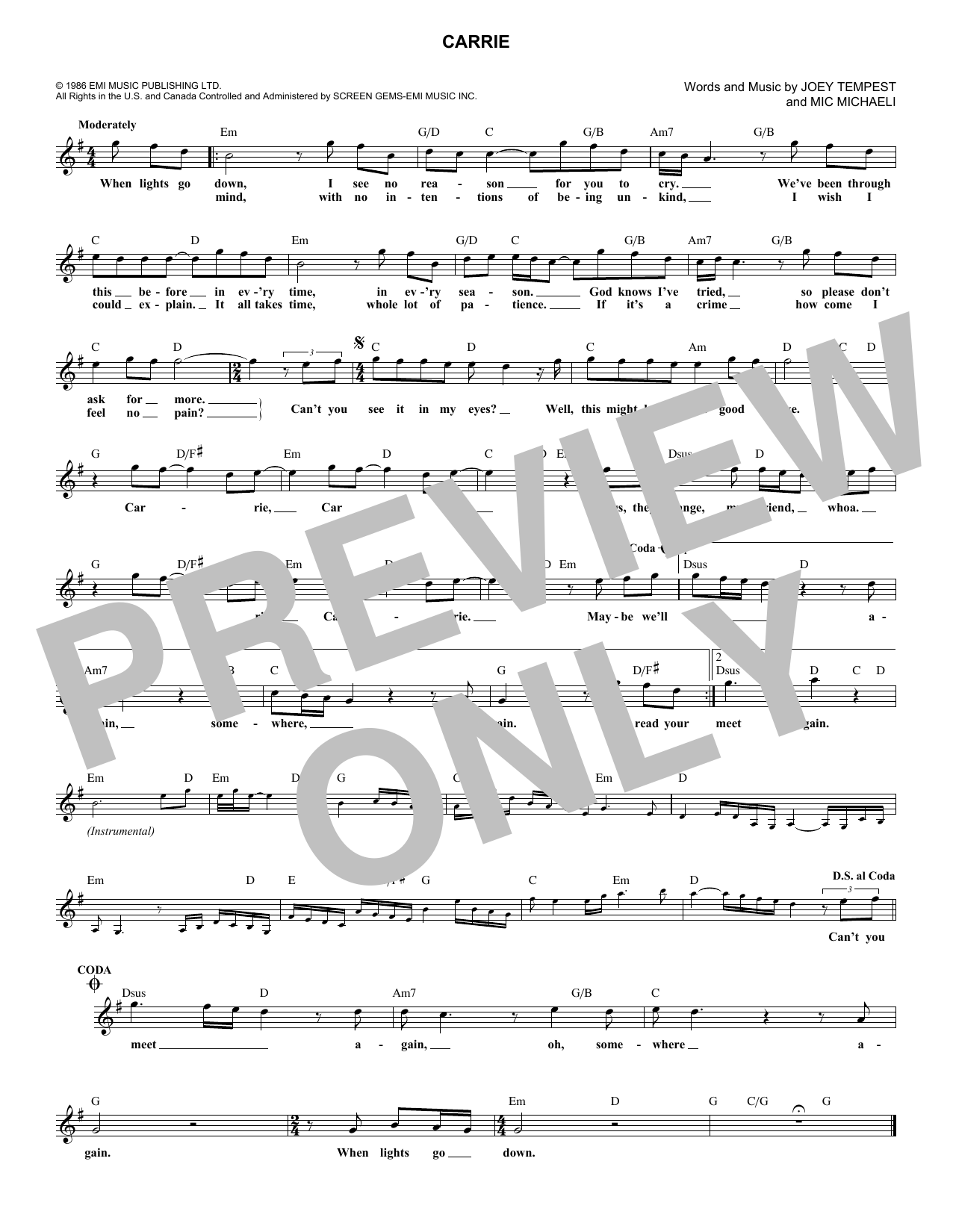 Carrie (Lead Sheet / Fake Book)