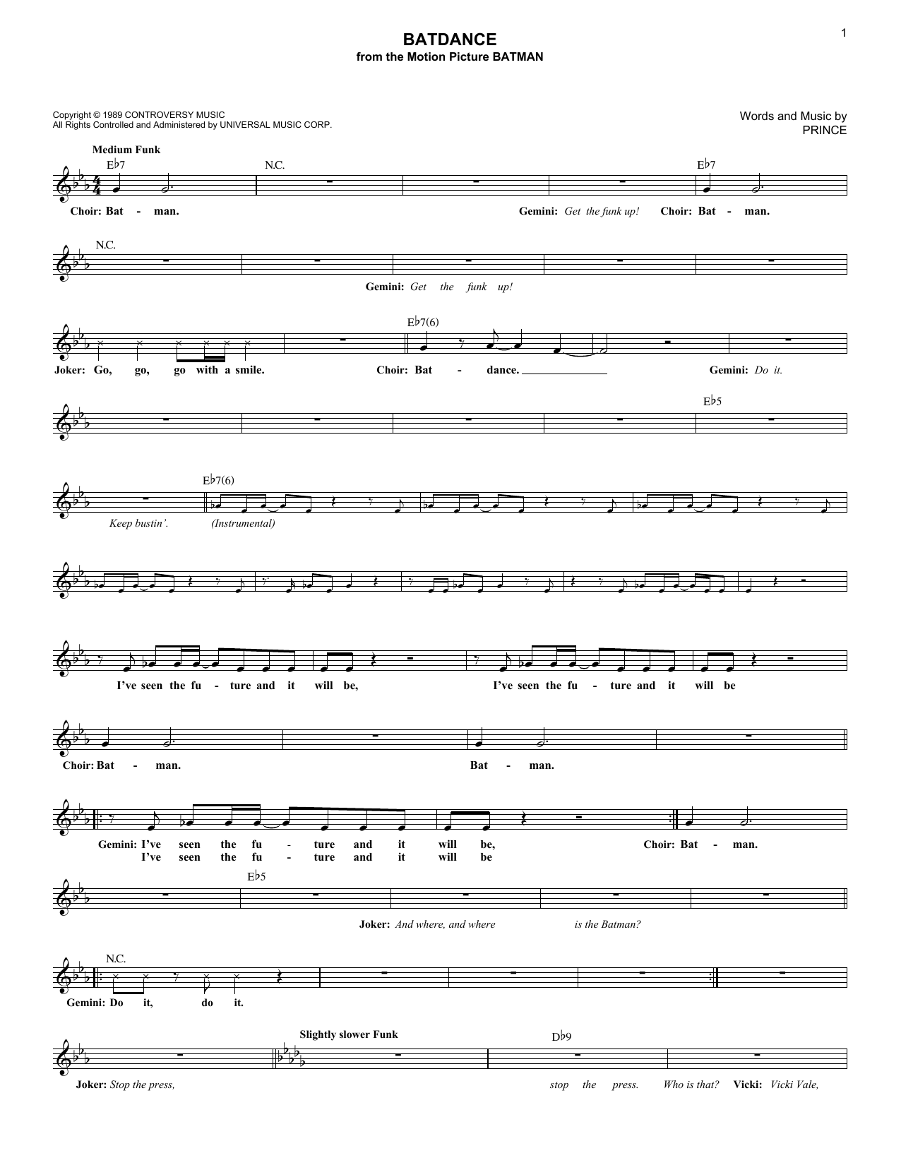 Batdance (Lead Sheet / Fake Book)