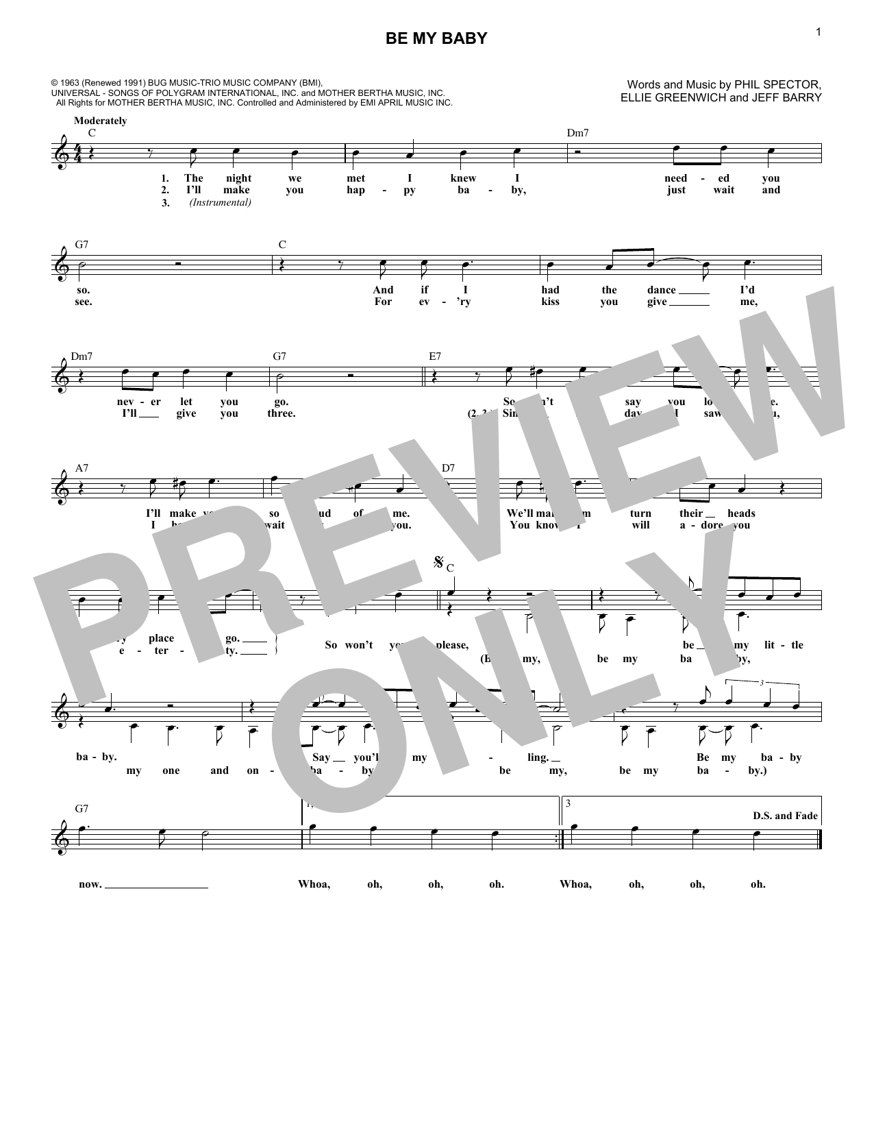 Be My Baby (Lead Sheet / Fake Book)