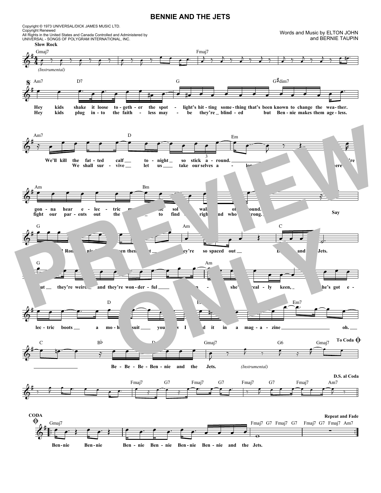 Bennie And The Jets (Lead Sheet / Fake Book)
