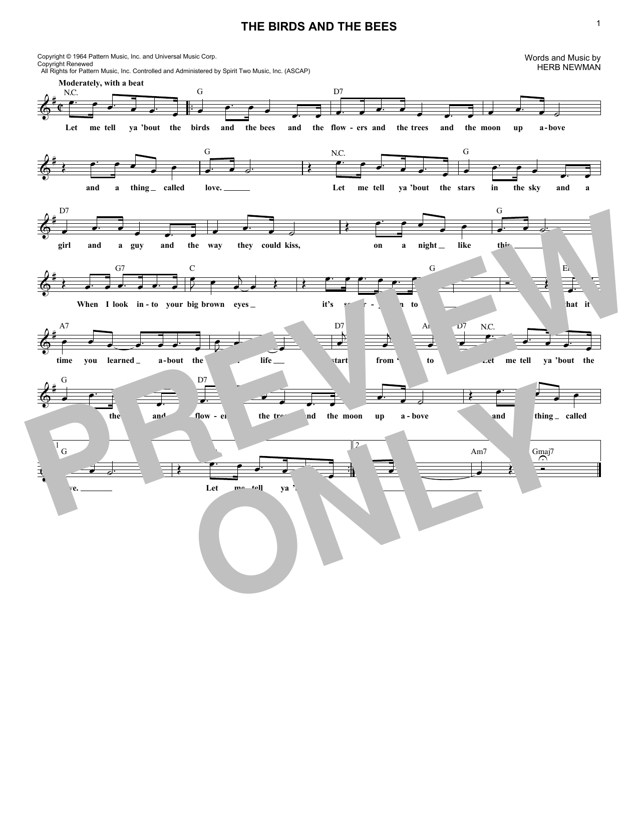 The Birds And The Bees (Lead Sheet / Fake Book)
