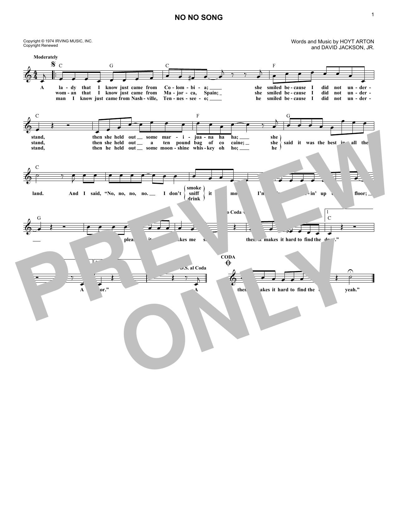 No No Song (Lead Sheet / Fake Book)