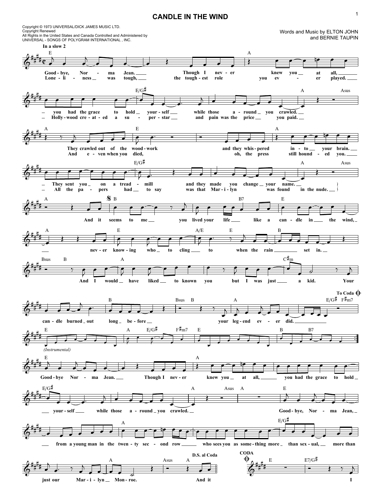 Candle In The Wind (Lead Sheet / Fake Book)