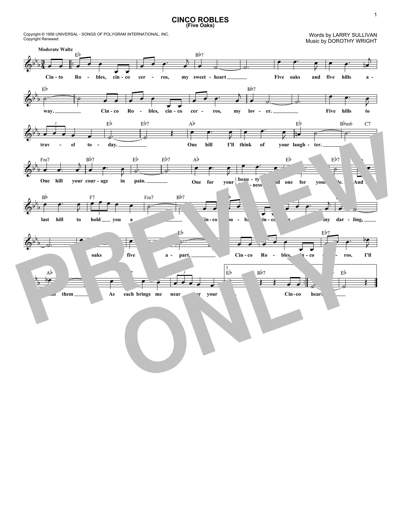 Cinco Robles (Five Oaks) (Melody Line, Lyrics & Chords)