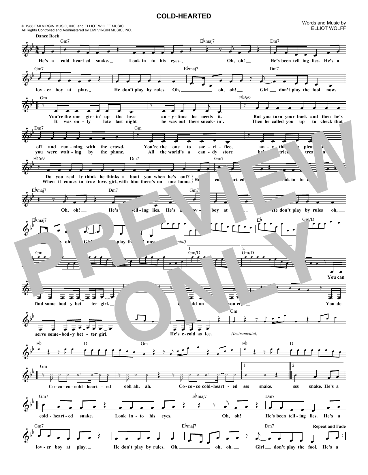 Cold-Hearted (Lead Sheet / Fake Book)