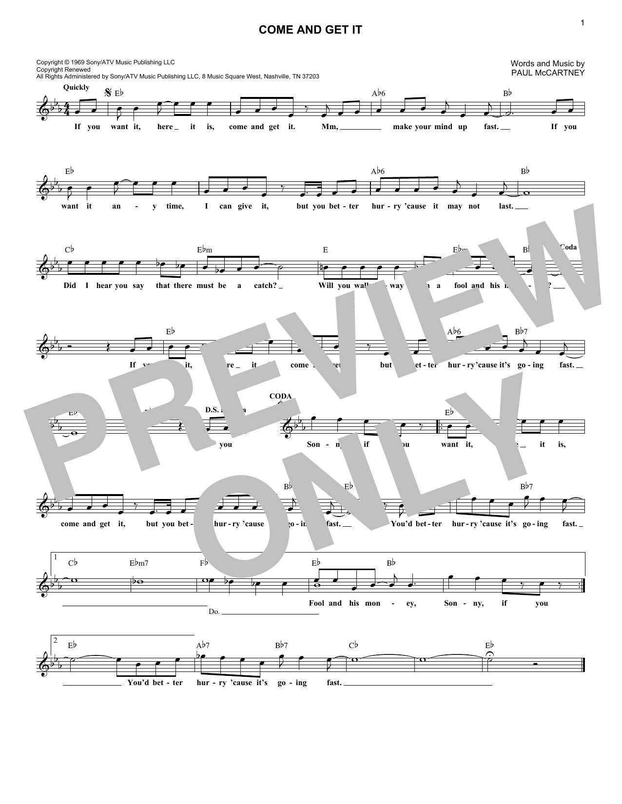 Come And Get It (Lead Sheet / Fake Book)