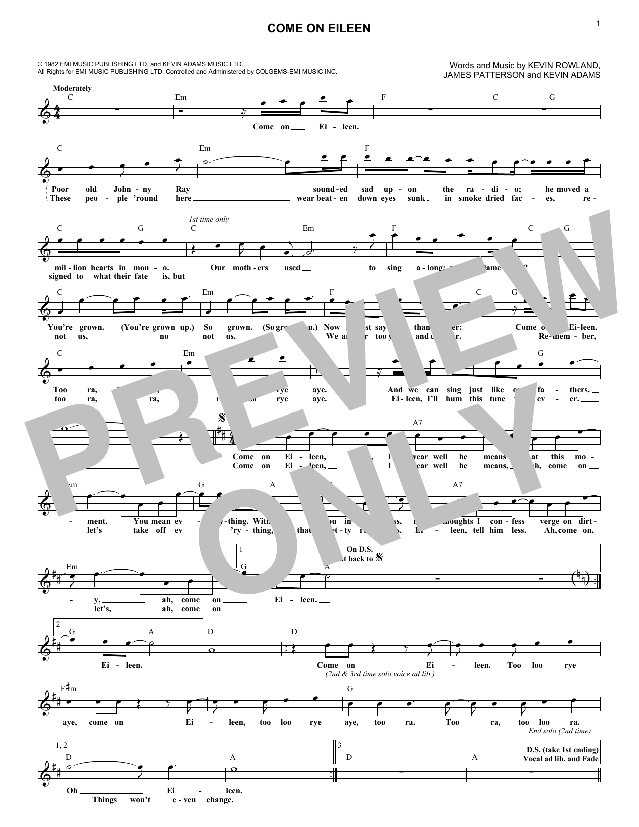 Come on eileen chords by dexys midnight runners melody line come on eileen sheet music hexwebz Image collections