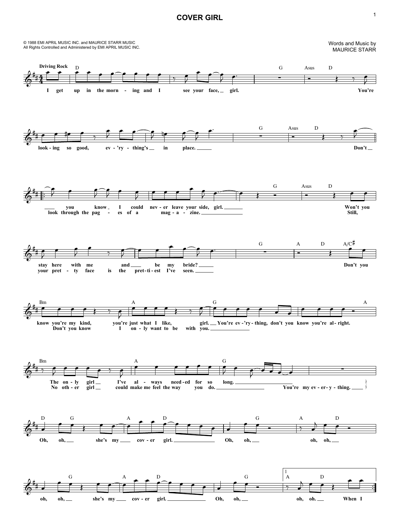 Cover Girl (Lead Sheet / Fake Book)