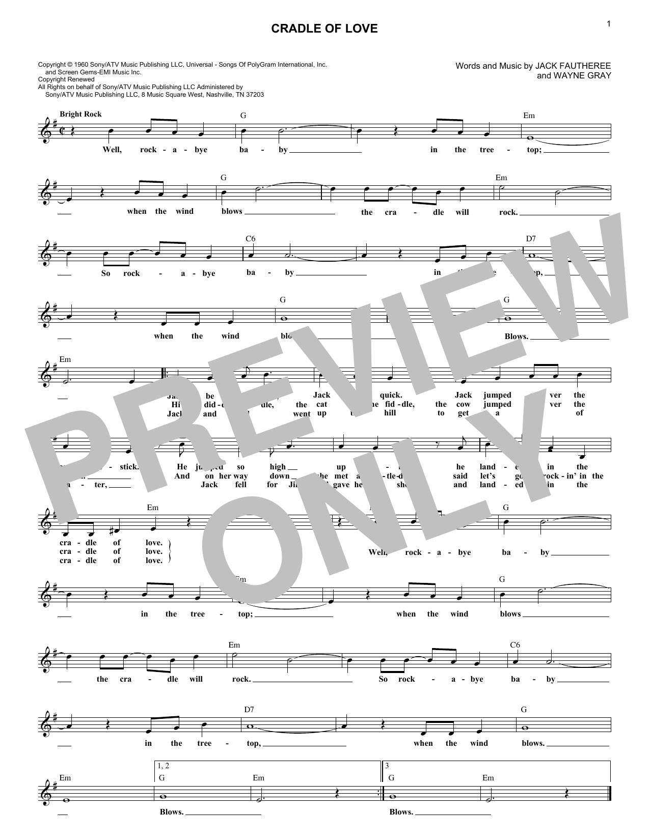 Cradle Of Love (Lead Sheet / Fake Book)