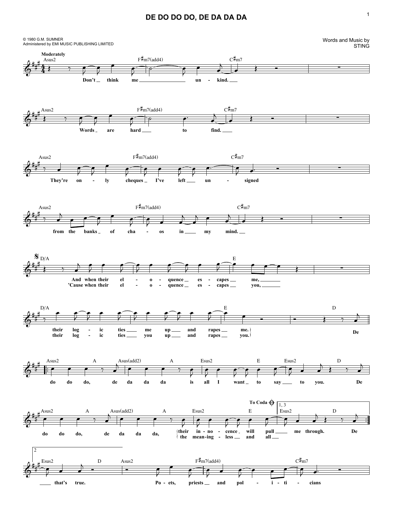 De Do Do Do, De Da Da Da Sheet Music