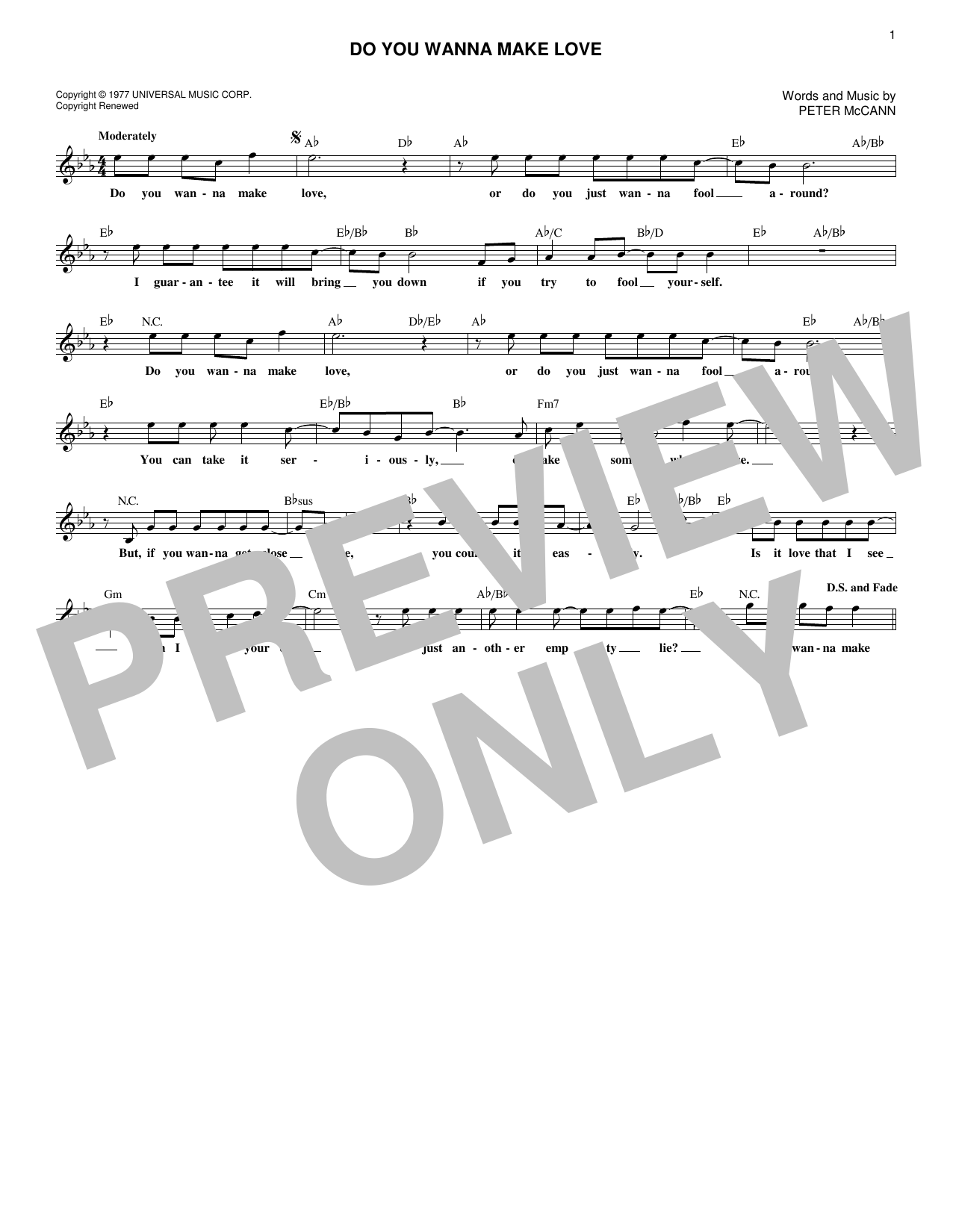 Do You Wanna Make Love (Lead Sheet / Fake Book)
