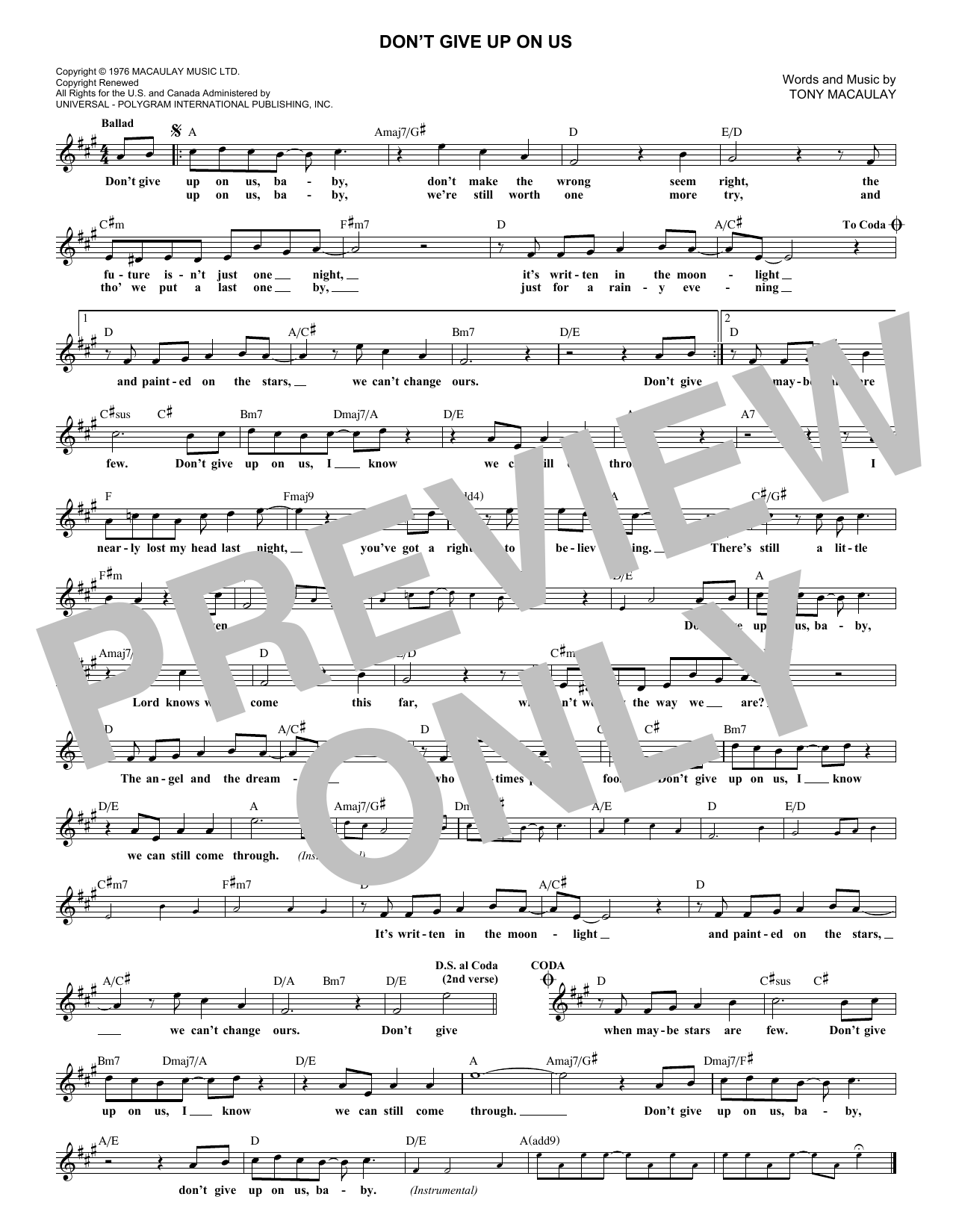 Don't Give Up On Us (Melody Line, Lyrics & Chords)