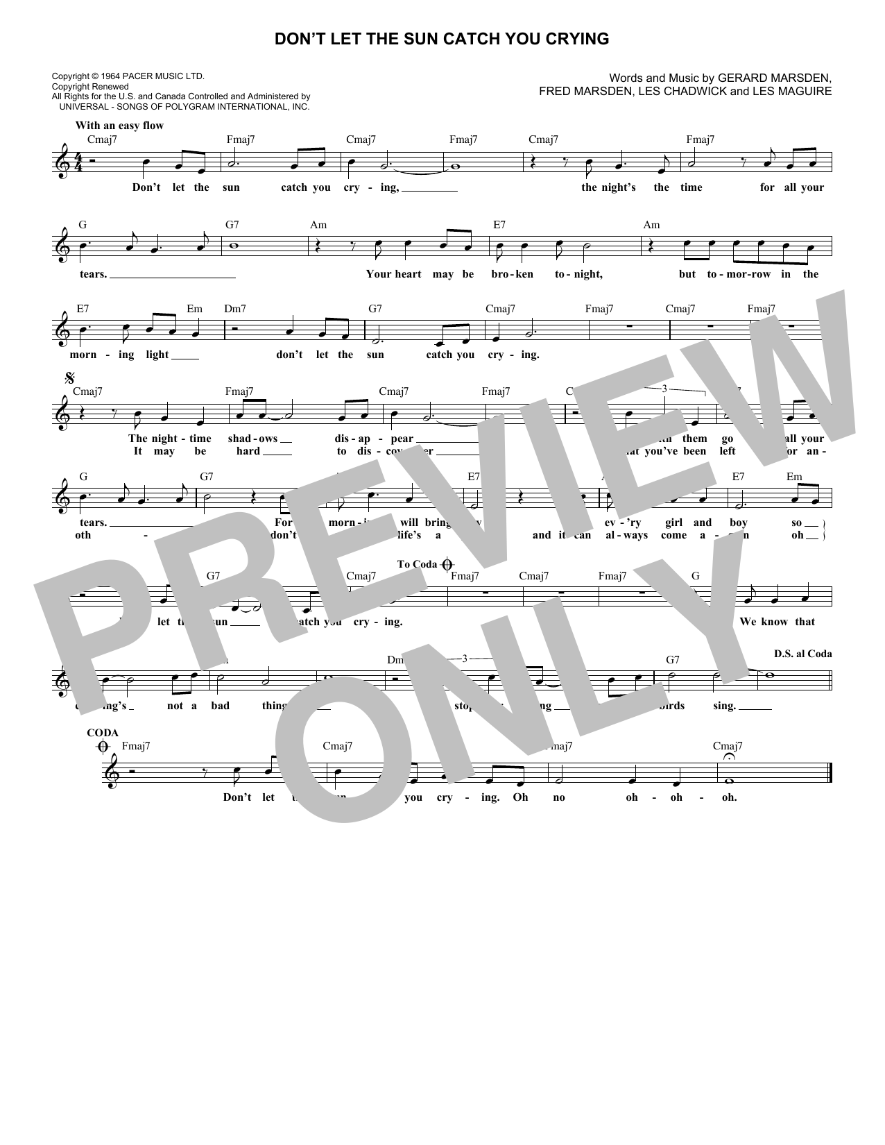 Don't Let The Sun Catch You Crying (Lead Sheet / Fake Book)