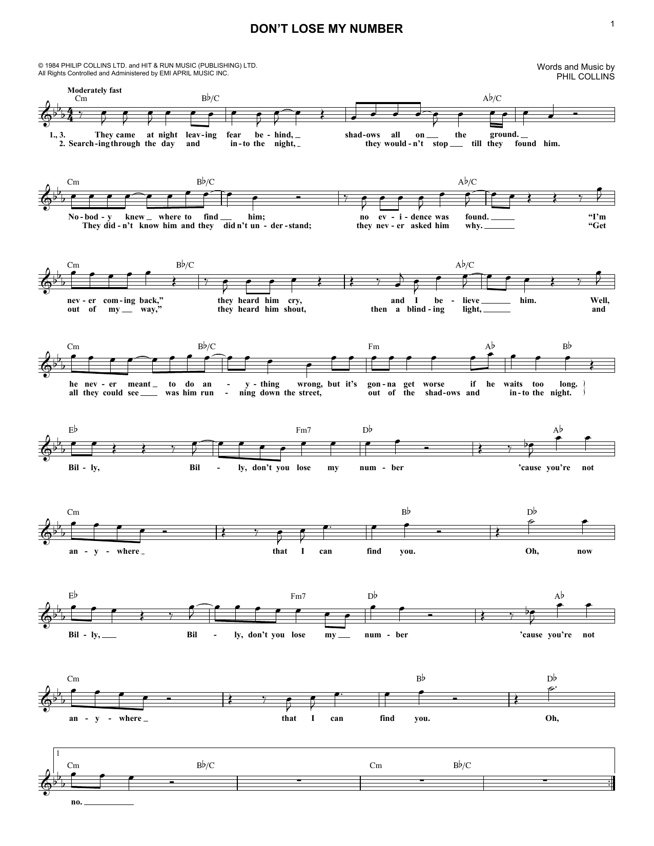 Don't Lose My Number (Lead Sheet / Fake Book)