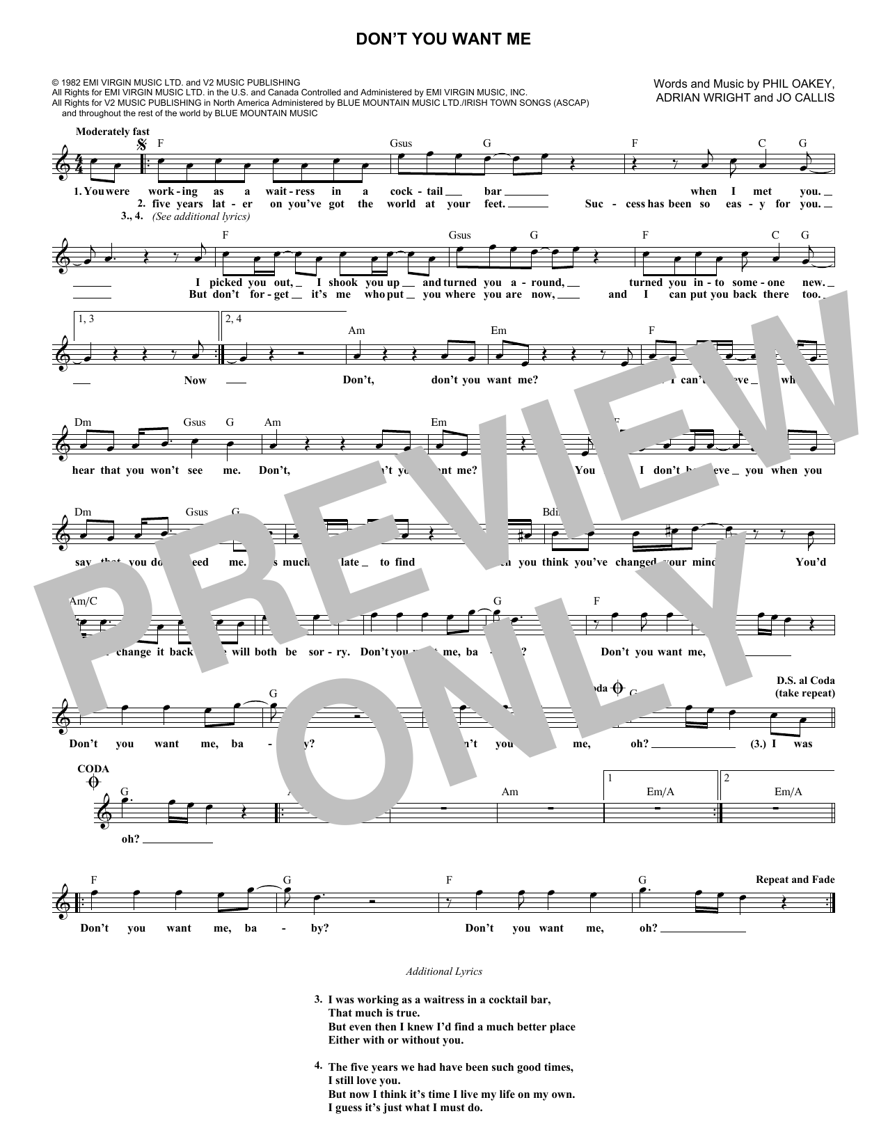 Don't You Want Me (Lead Sheet / Fake Book)