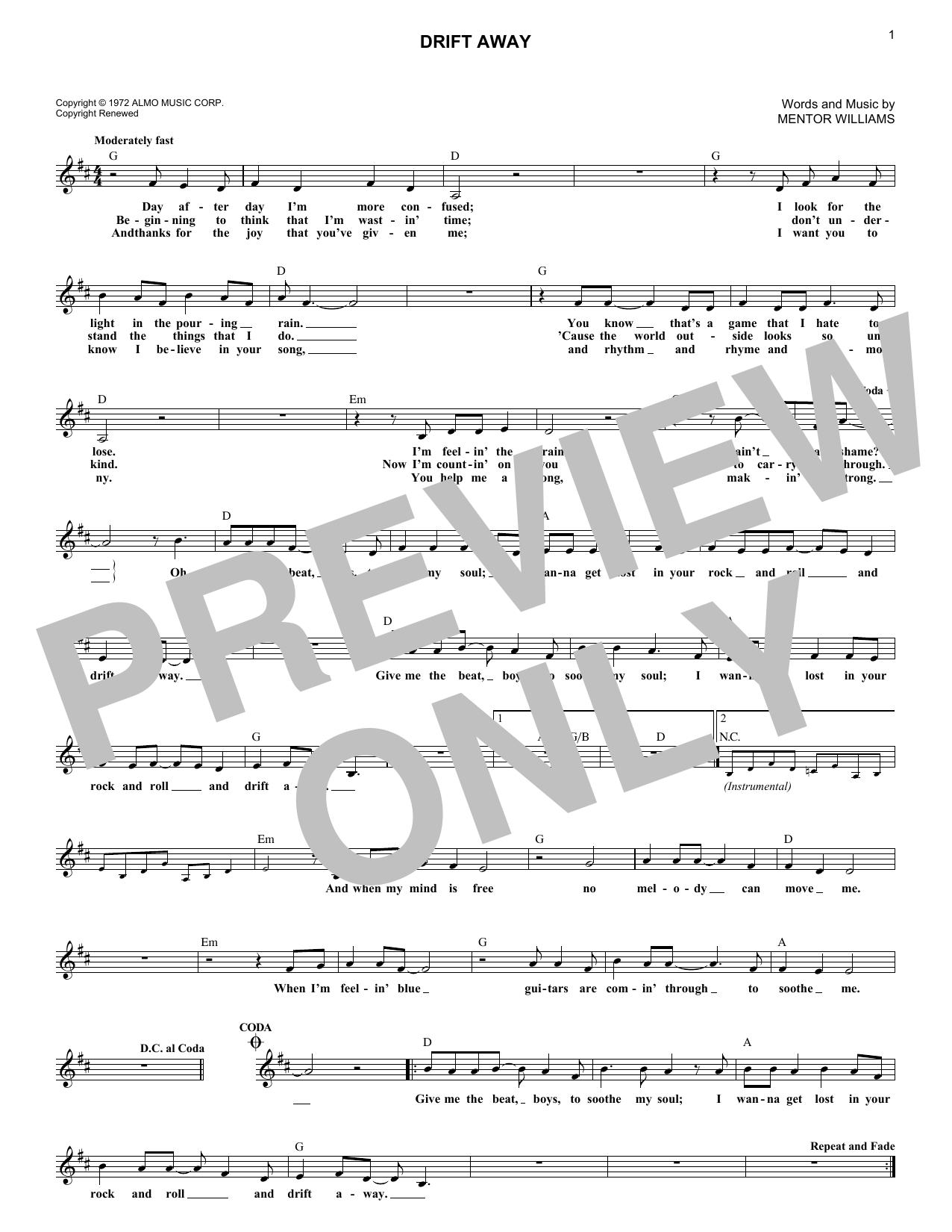 Drift Away (feat. Dobie Gray) (Lead Sheet / Fake Book)