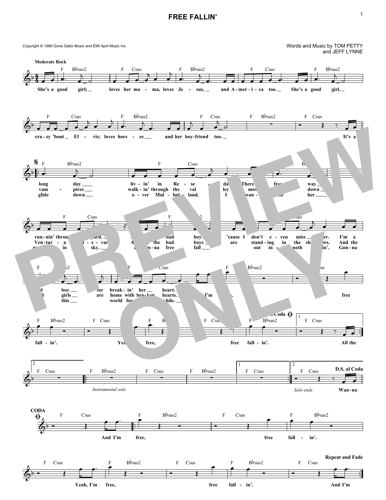 Free Fallin Chords By Tom Petty Melody Line Lyrics Chords 184647