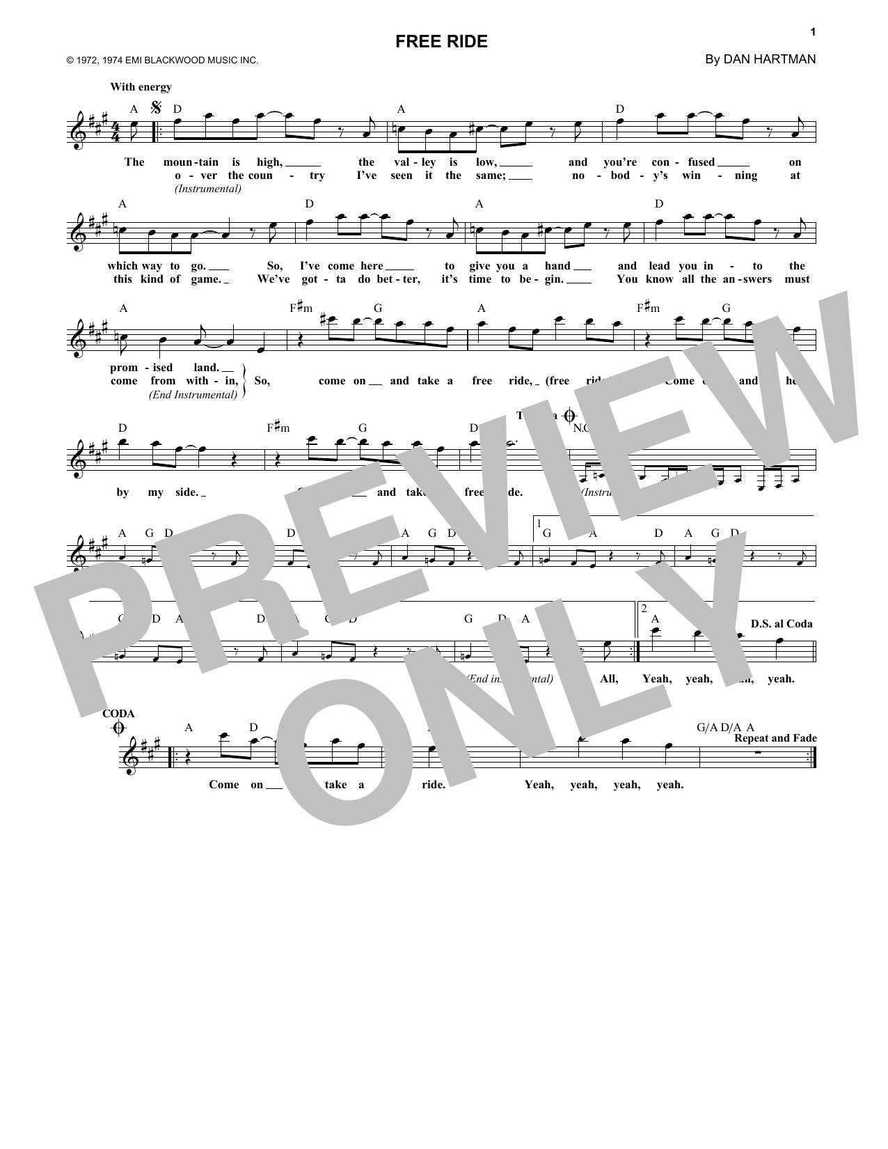 Free Ride (Lead Sheet / Fake Book)