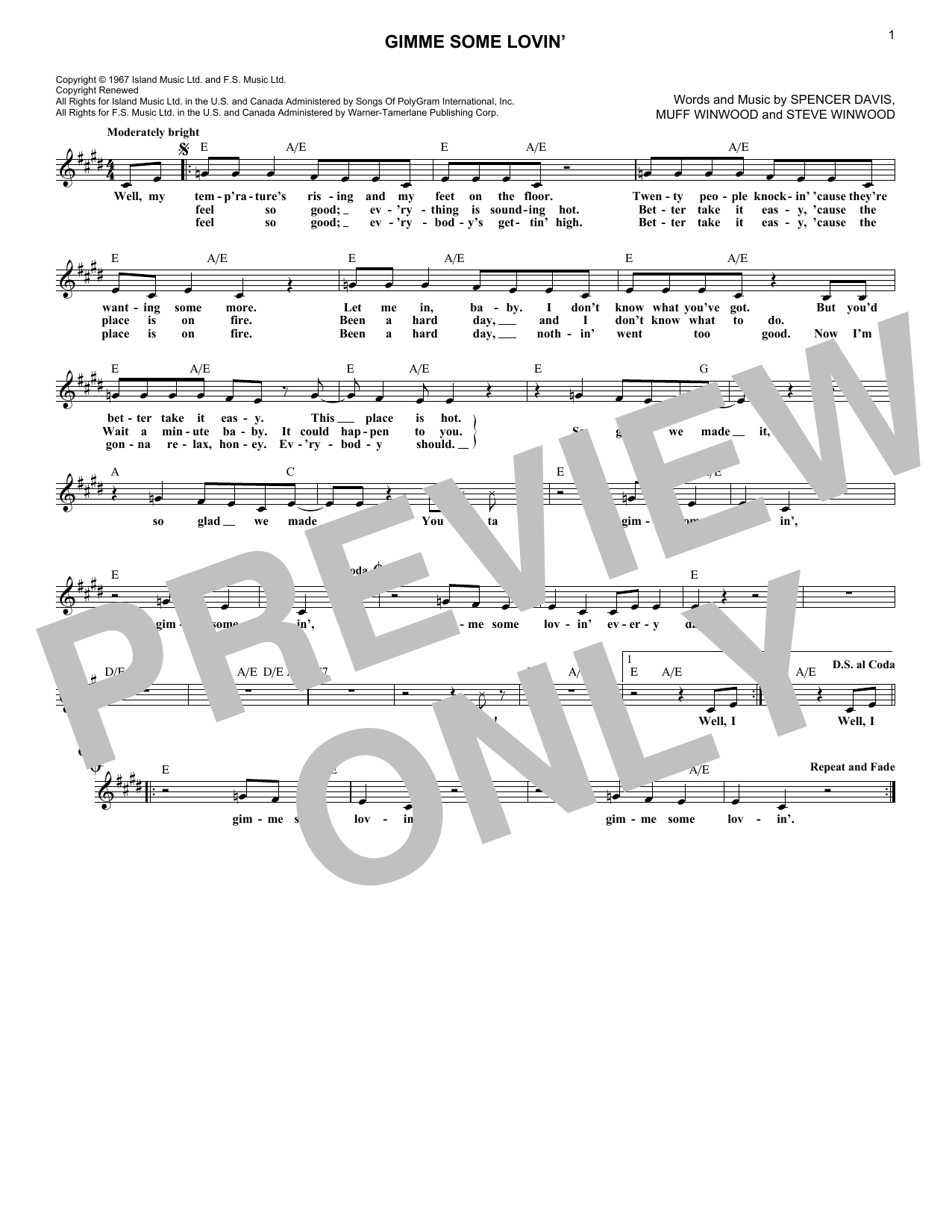 Gimme Some Lovin' (Melody Line, Lyrics & Chords)
