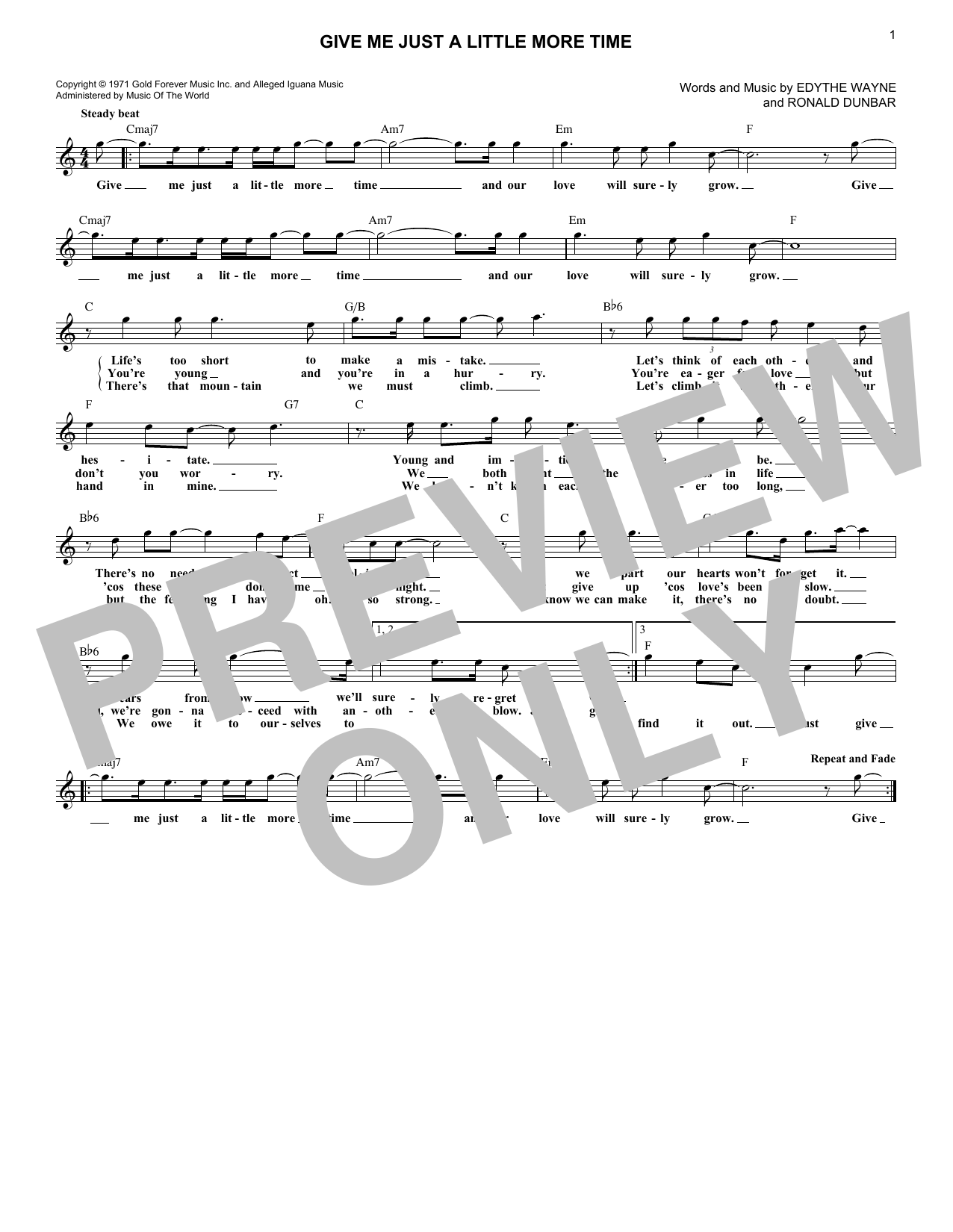 Give Me Just A Little More Time (Lead Sheet / Fake Book)