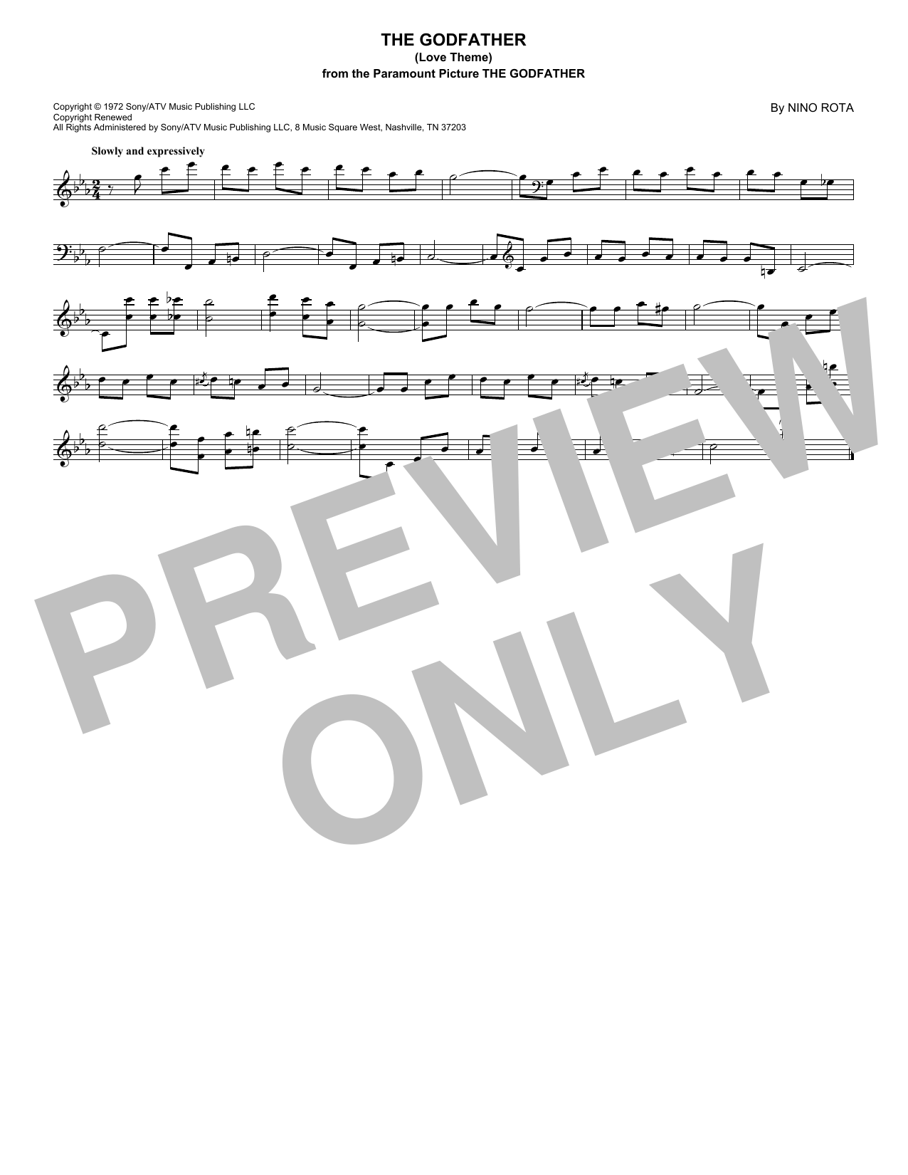 The Godfather (Love Theme) (Lead Sheet / Fake Book)