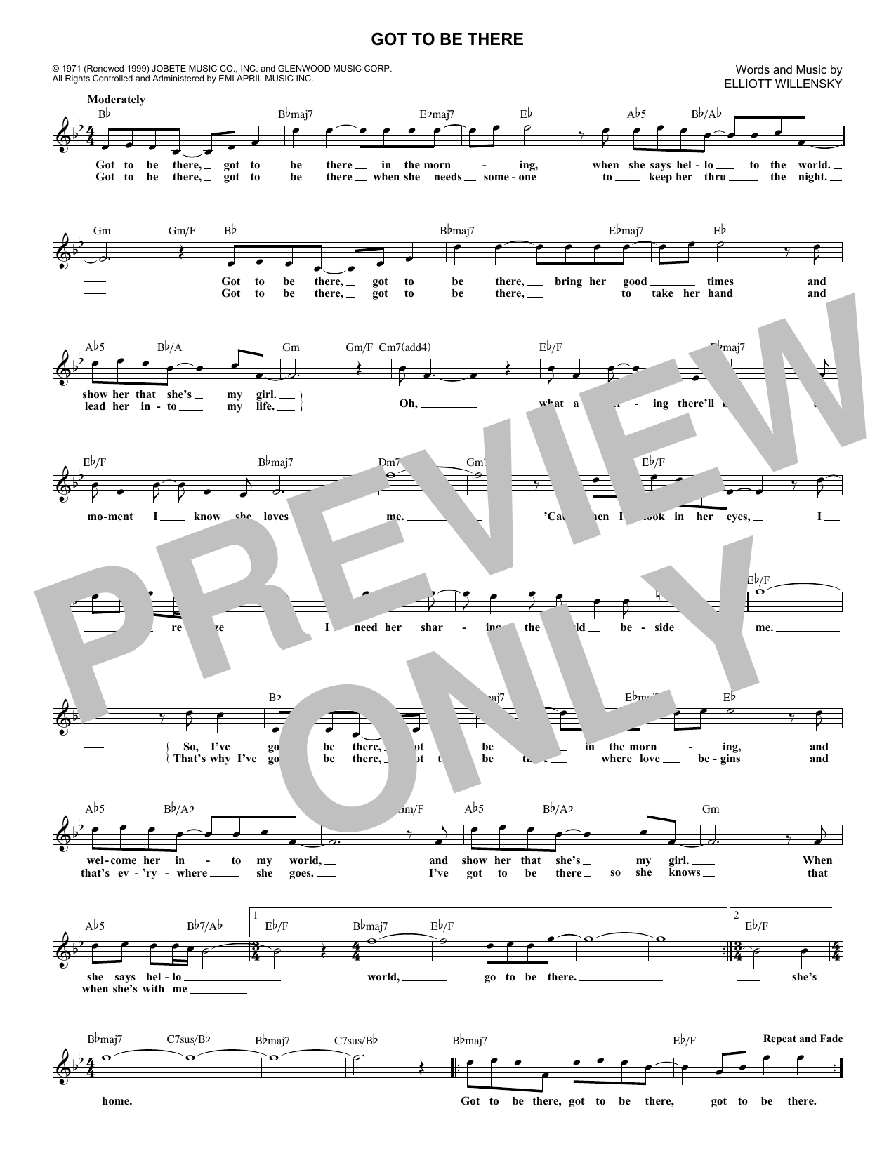 Got To Be There (Lead Sheet / Fake Book)