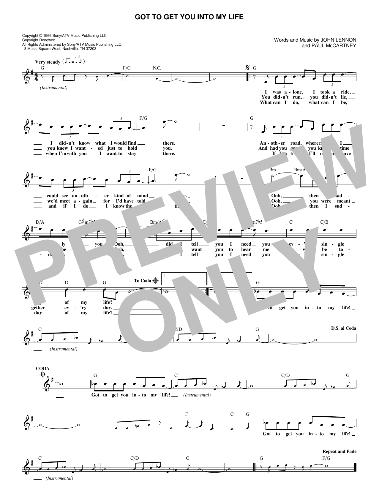 Got To Get You Into My Life (Melody Line, Lyrics & Chords)