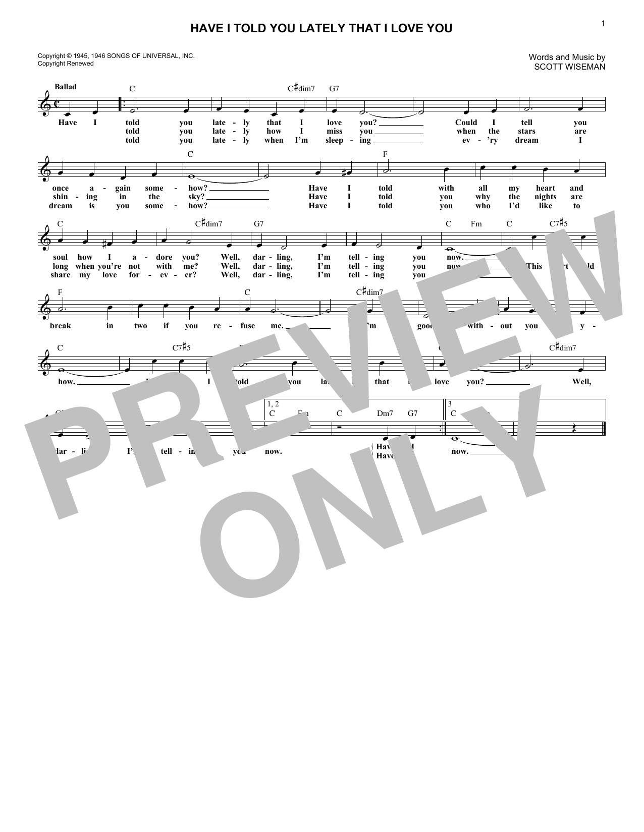 Have I Told You Lately That I Love You (Lead Sheet / Fake Book)