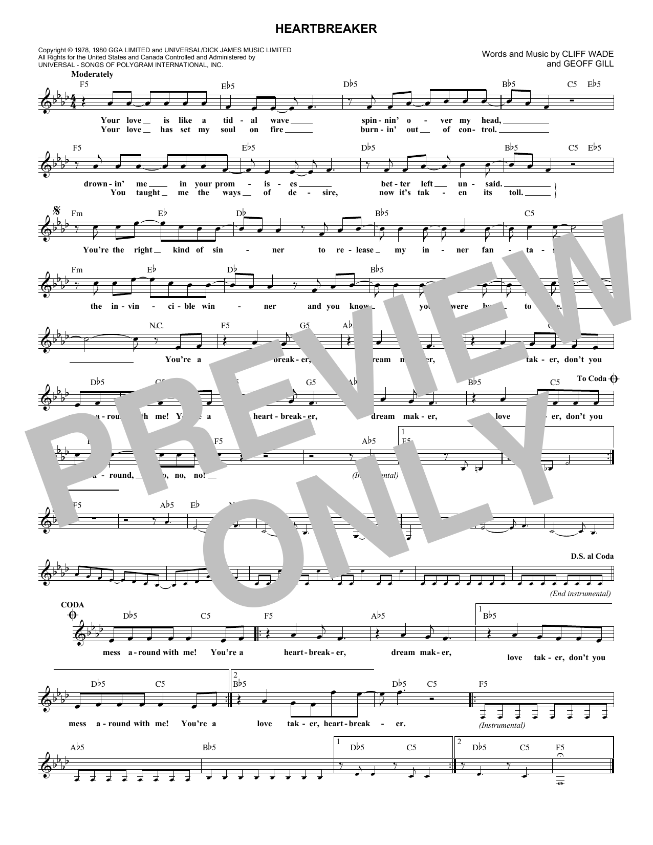 Heartbreaker (Lead Sheet / Fake Book)
