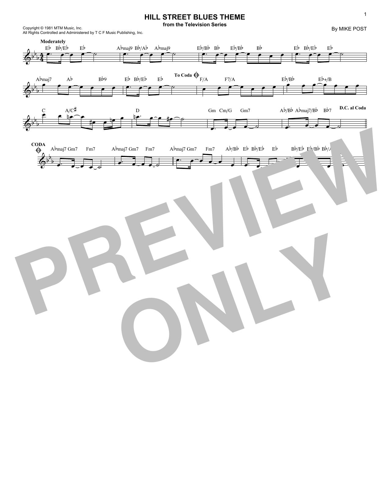 Hill Street Blues Theme (Lead Sheet / Fake Book)