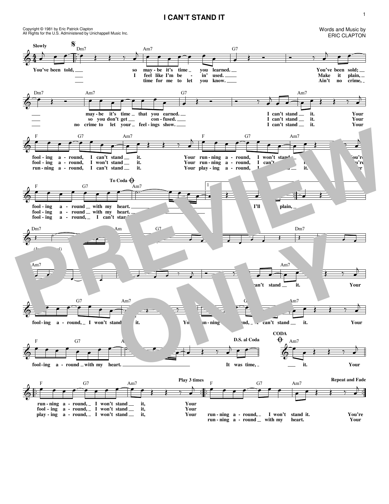 I Can't Stand It (Lead Sheet / Fake Book)