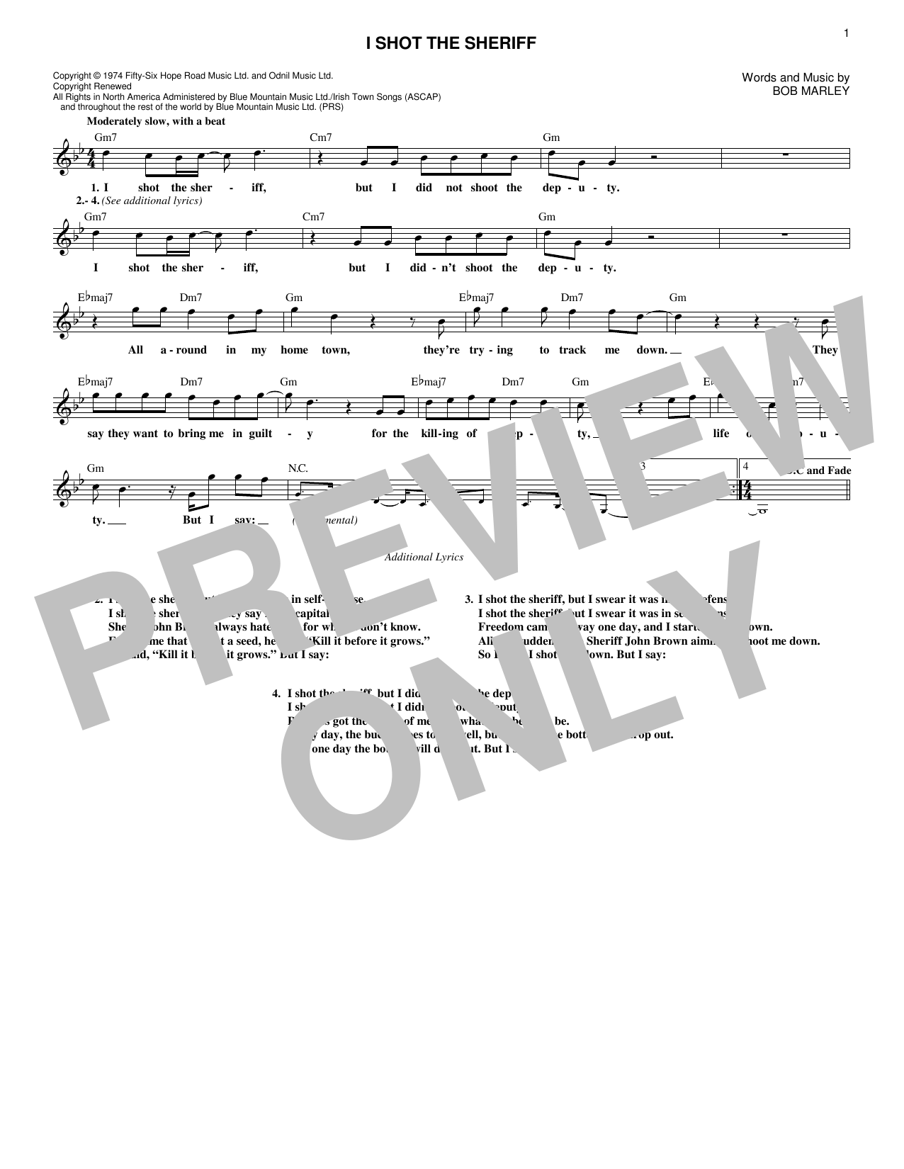 I Shot The Sheriff (Lead Sheet / Fake Book)
