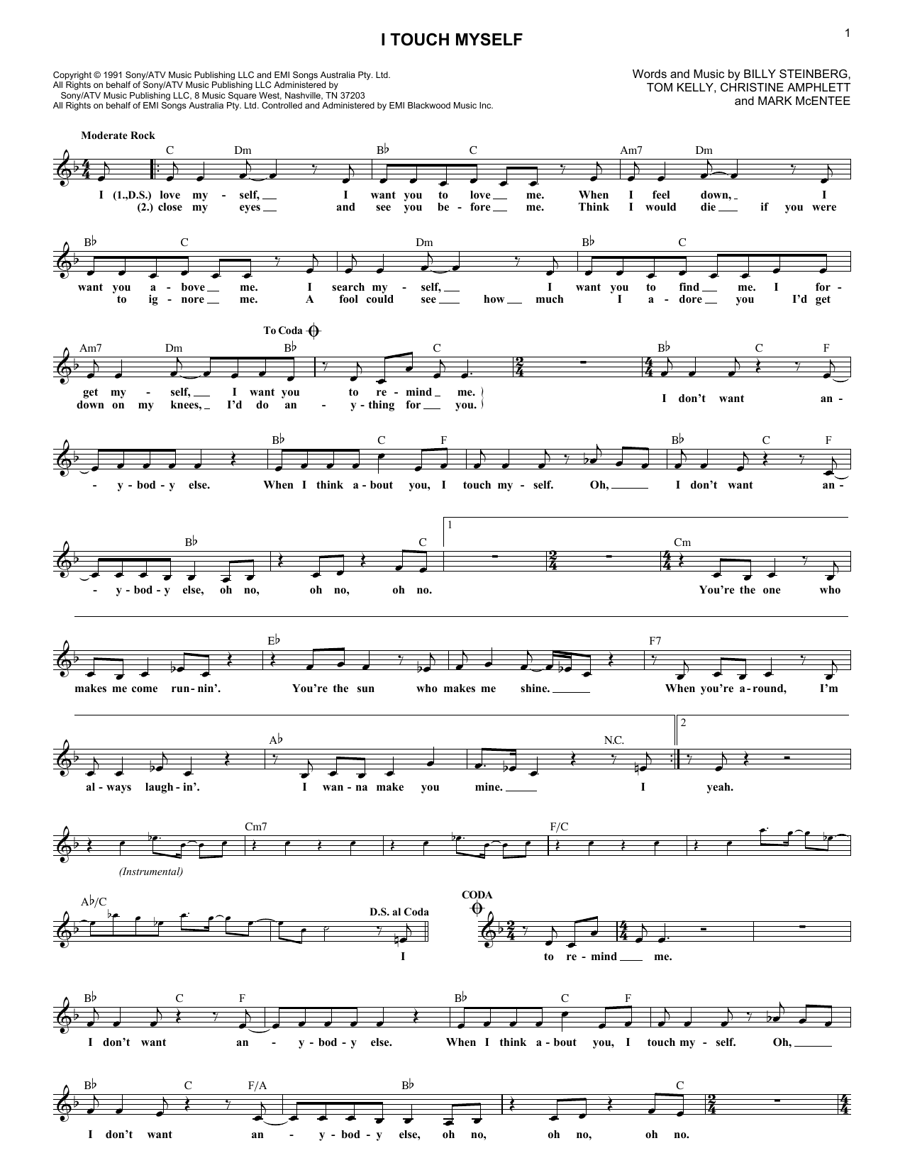 I Touch Myself (Lead Sheet / Fake Book)