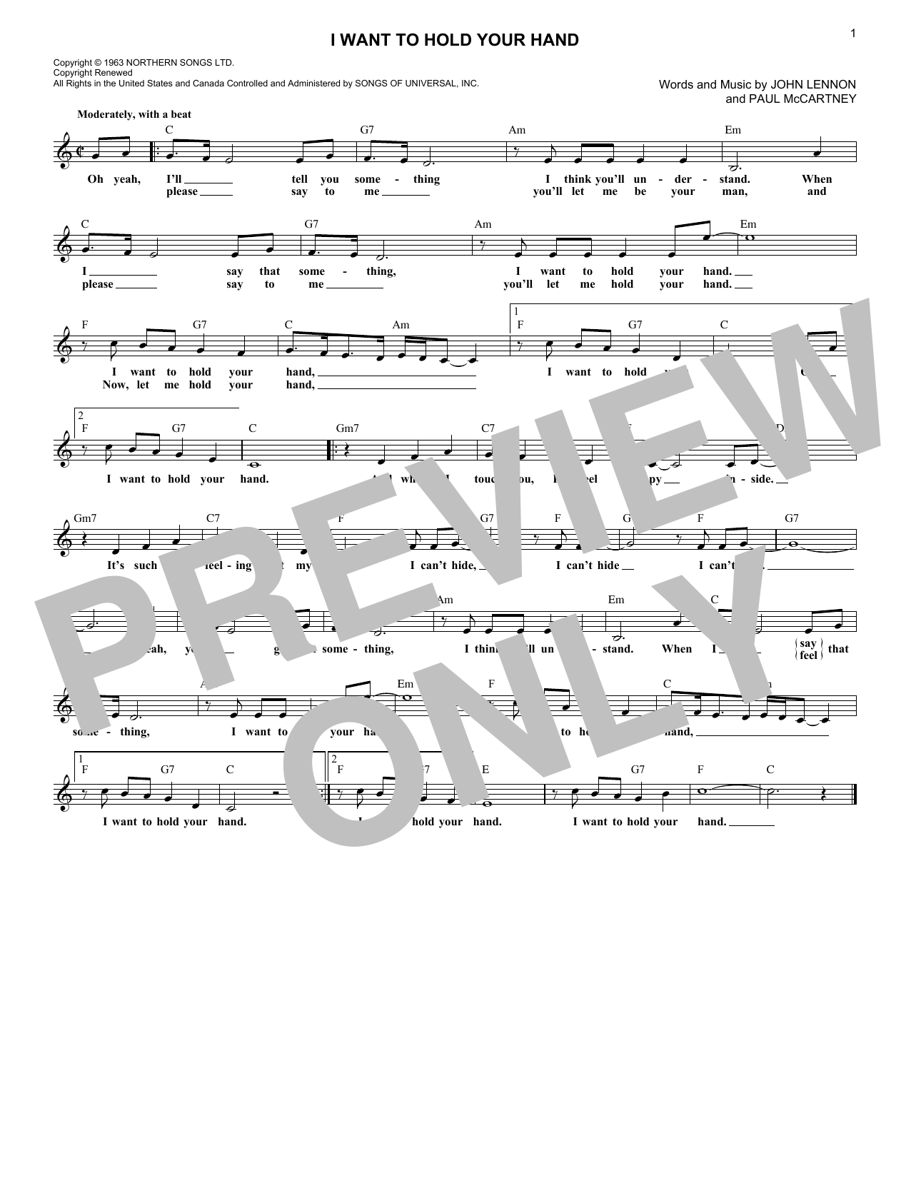 I Want To Hold Your Hand (Lead Sheet / Fake Book)