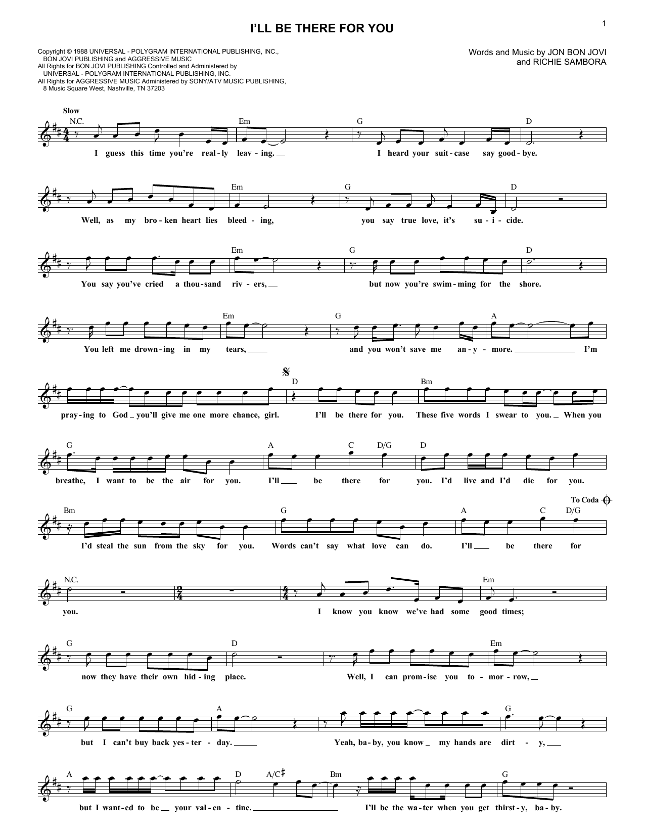 I'll Be There For You (Lead Sheet / Fake Book)