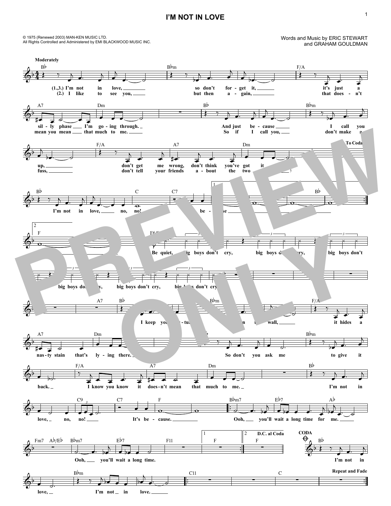I'm Not In Love (Lead Sheet / Fake Book)