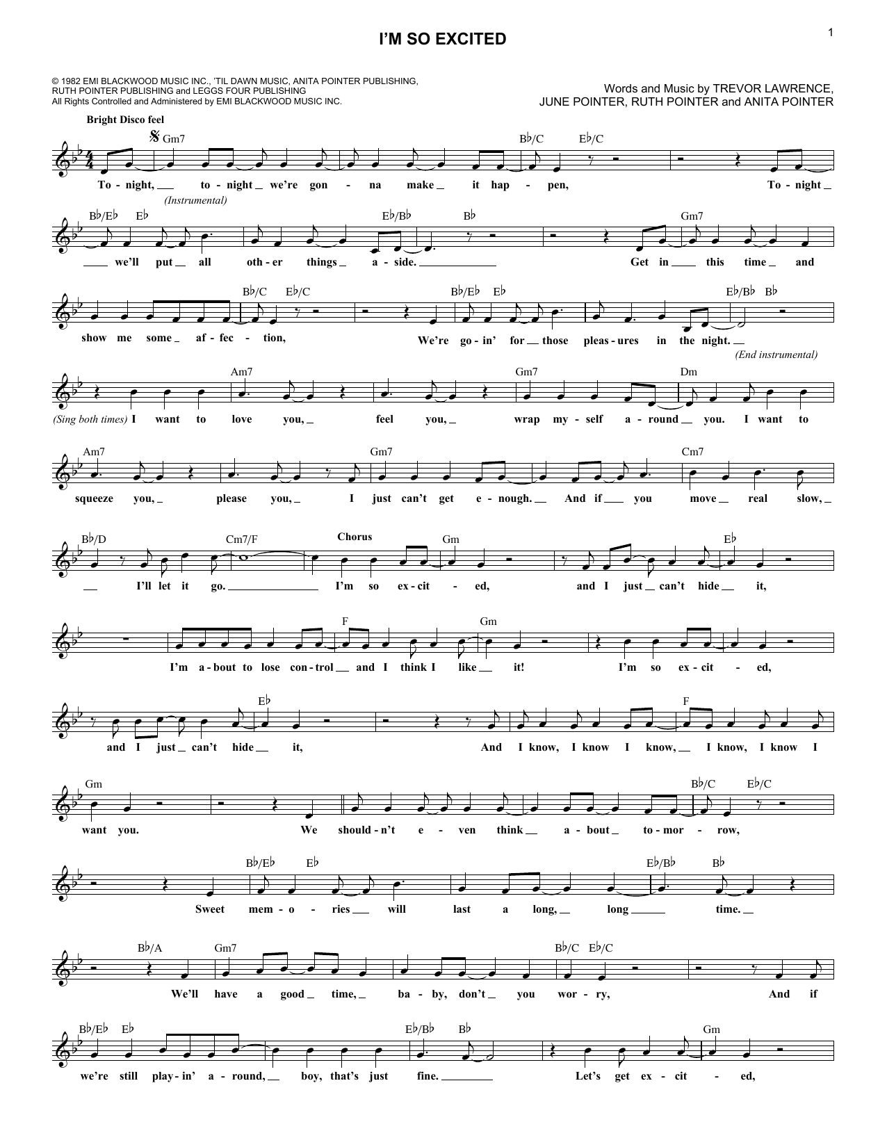 I'm So Excited (Lead Sheet / Fake Book)