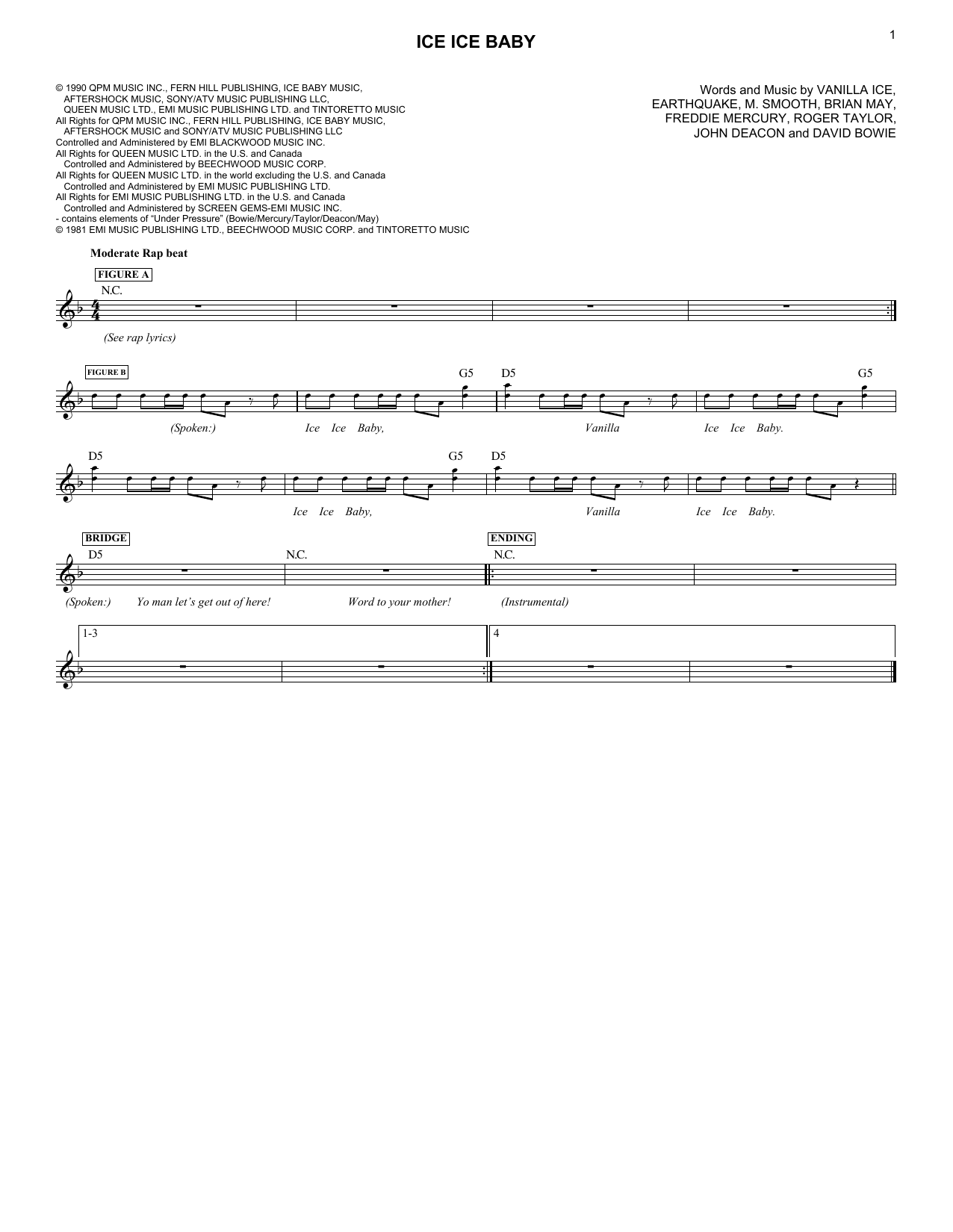 Ice Ice Baby (Lead Sheet / Fake Book)