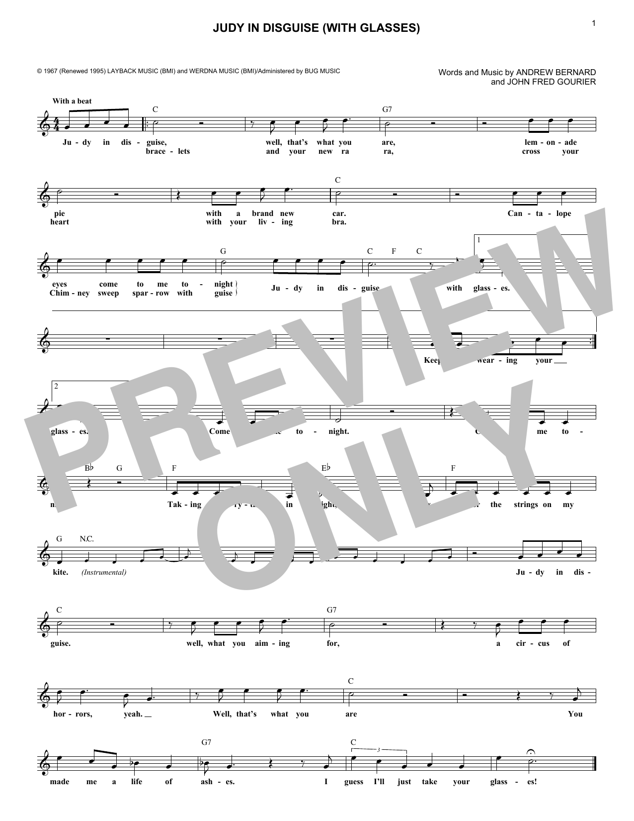 Judy In Disguise (With Glasses) (Lead Sheet / Fake Book)