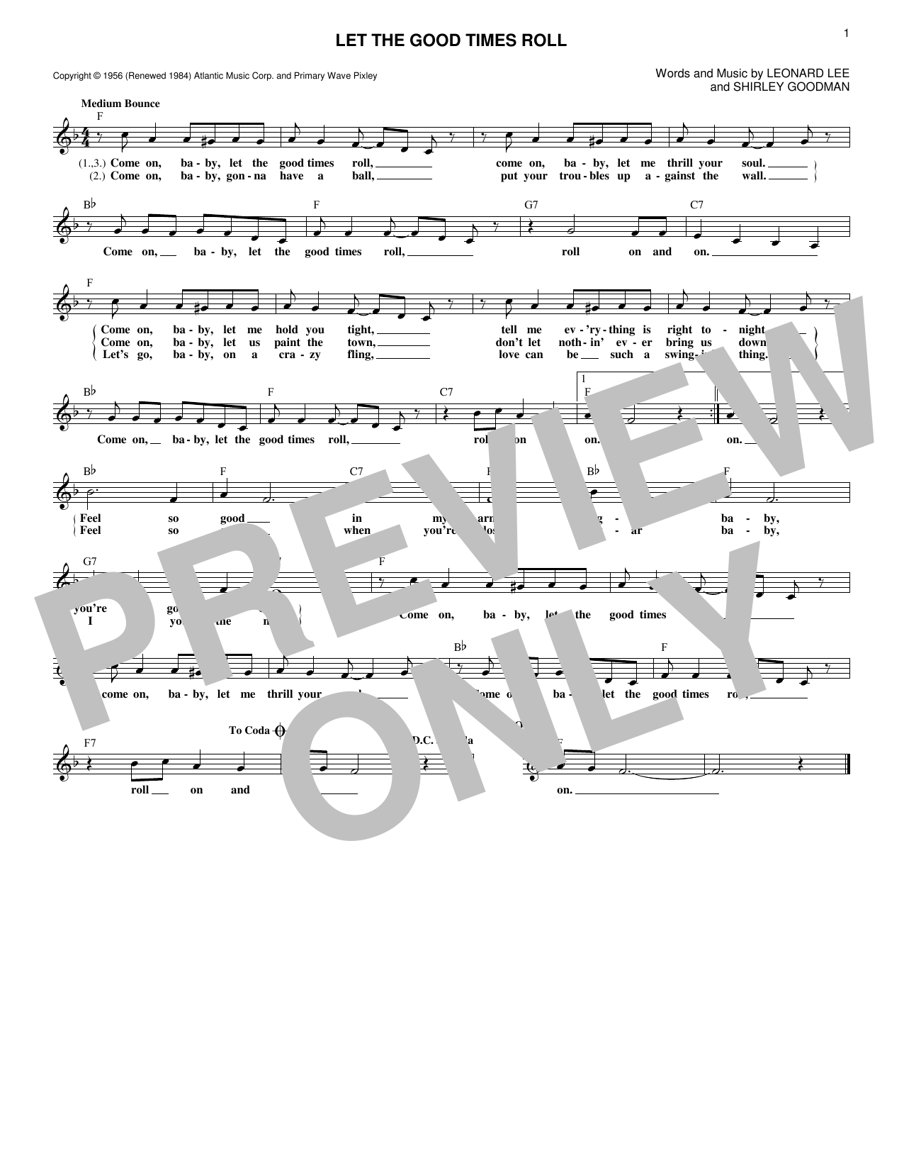 Let The Good Times Roll (Lead Sheet / Fake Book)