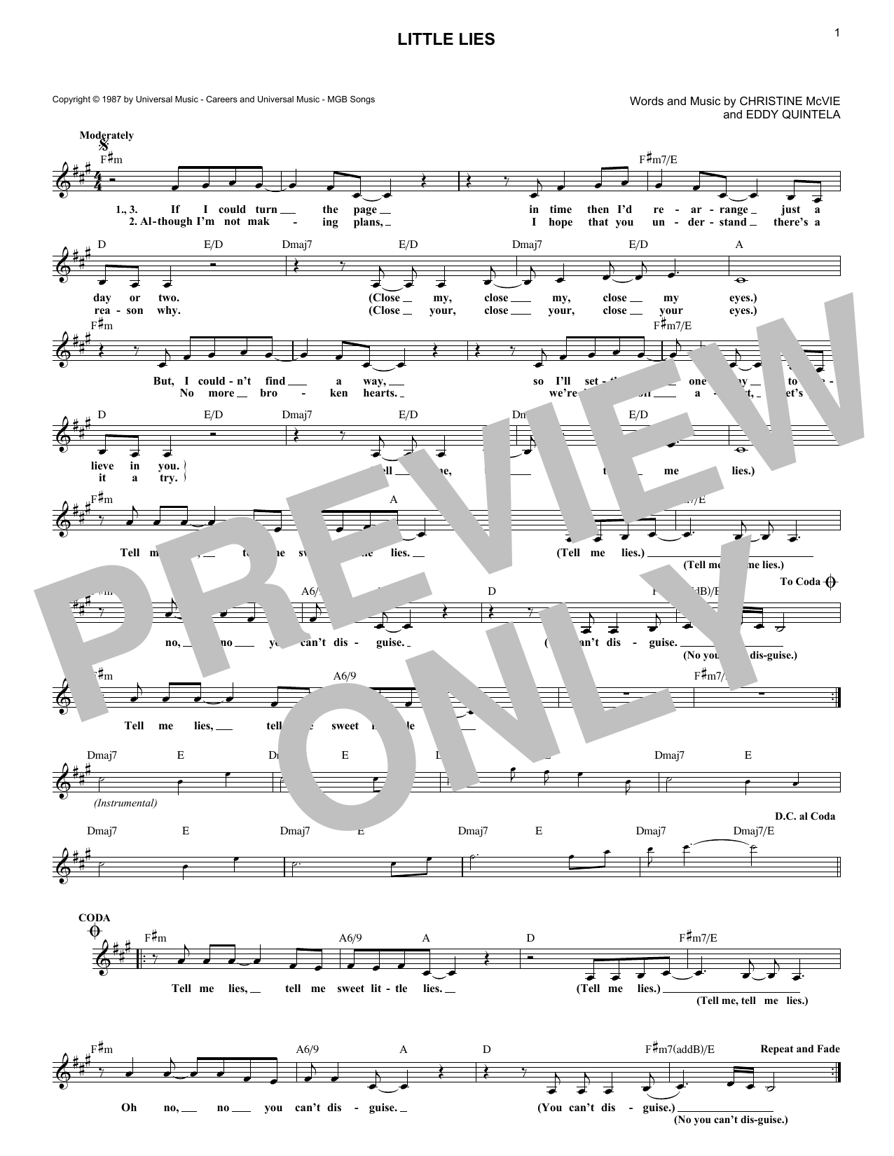 Little Lies (Lead Sheet / Fake Book)