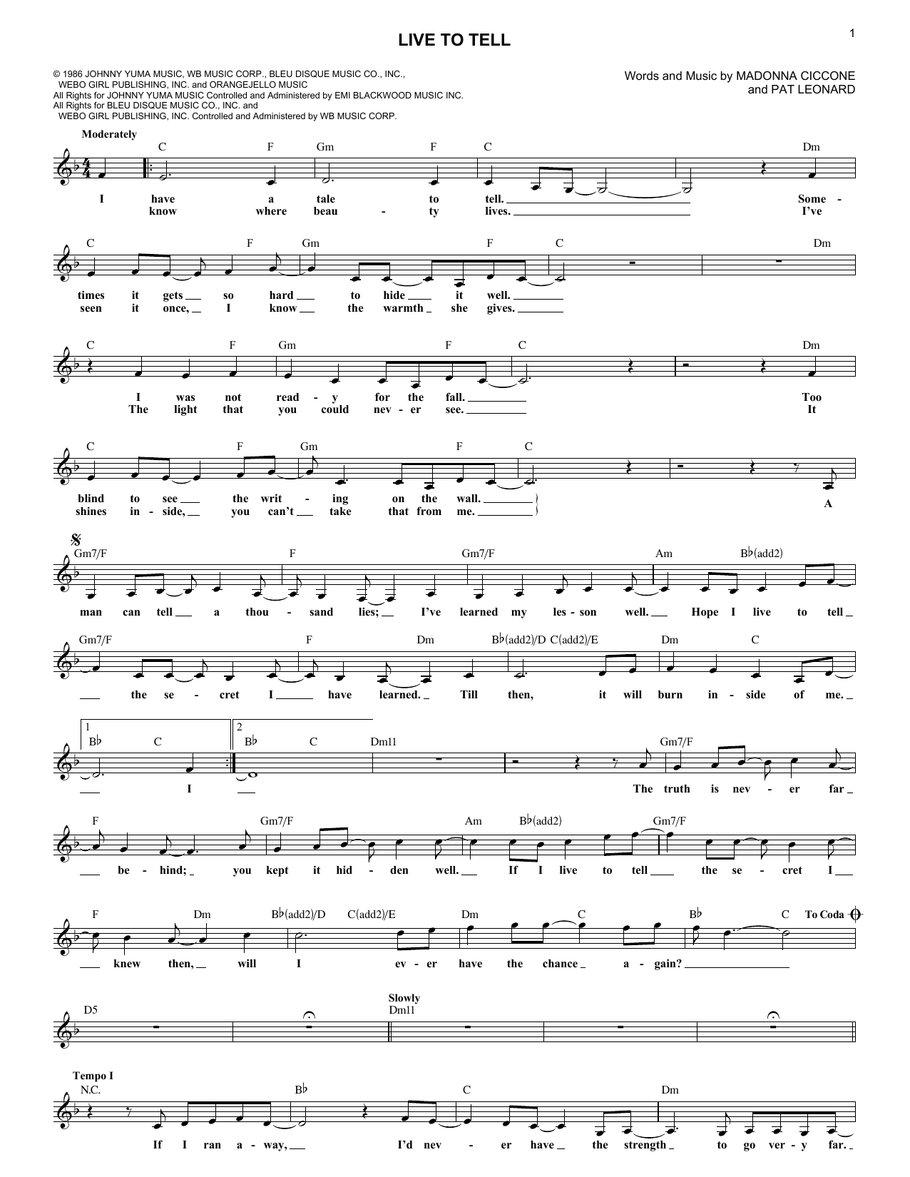 Live To Tell (Lead Sheet / Fake Book)