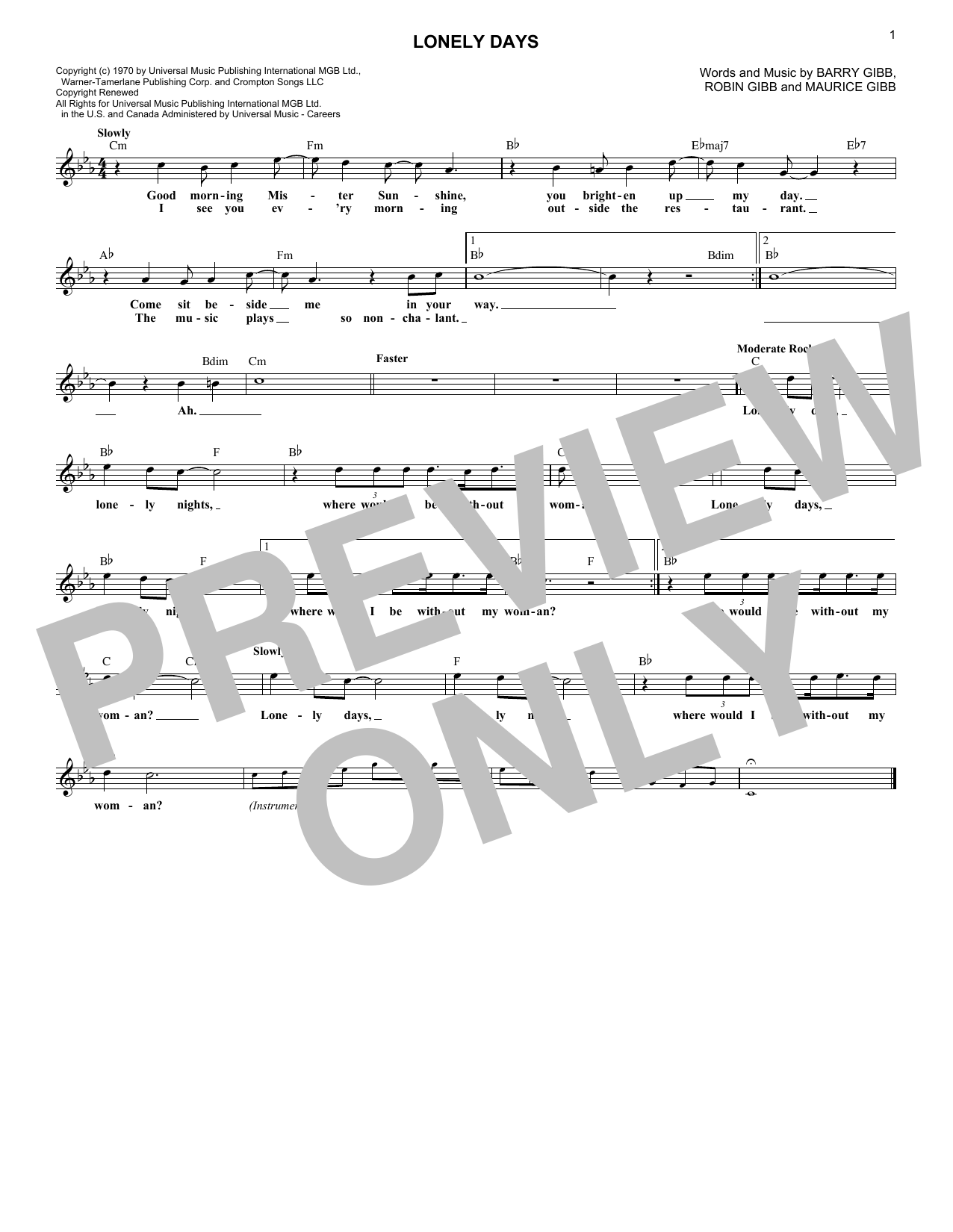 Lonely Days (Lead Sheet / Fake Book)