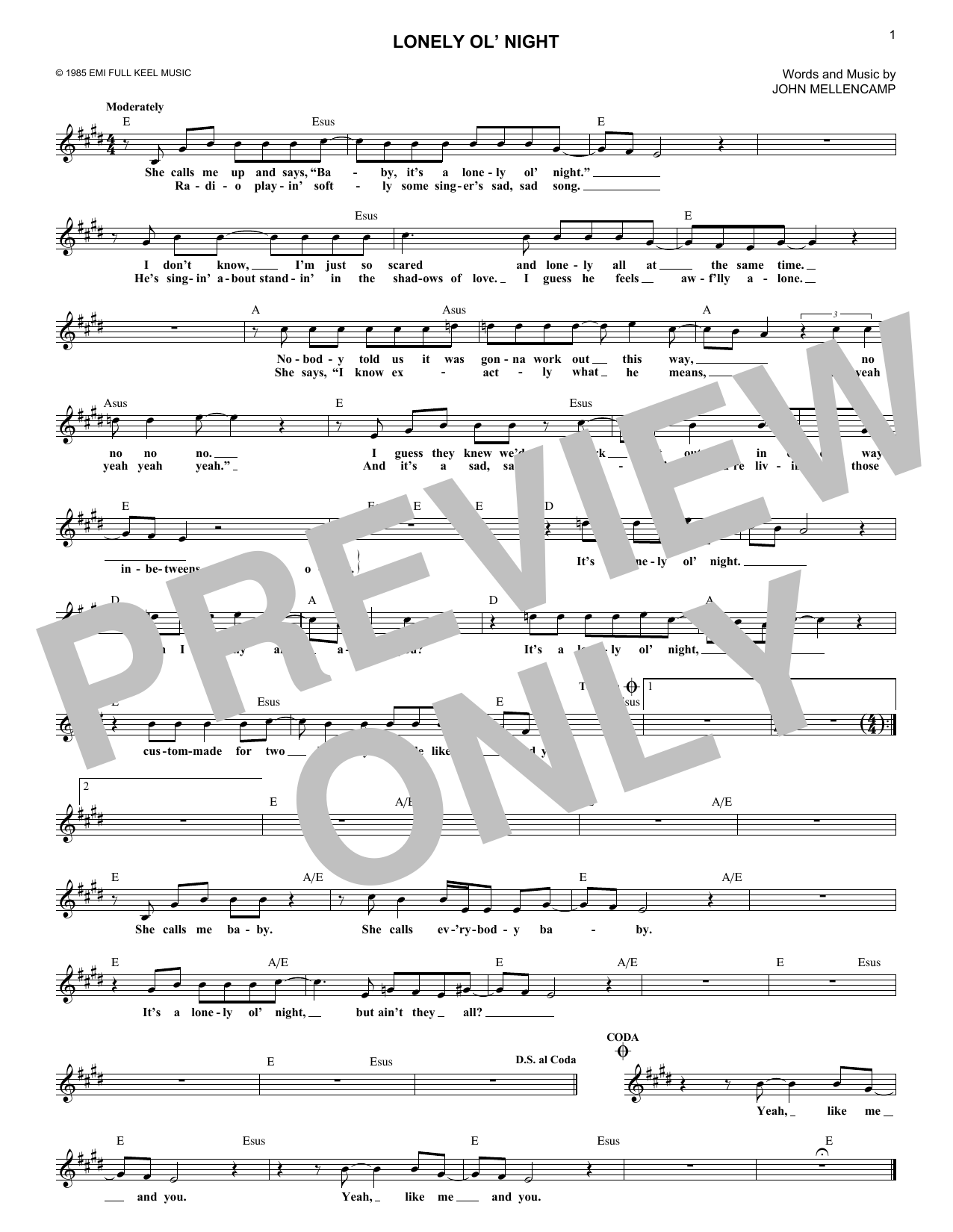 Lonely Ol' Night (Lead Sheet / Fake Book)